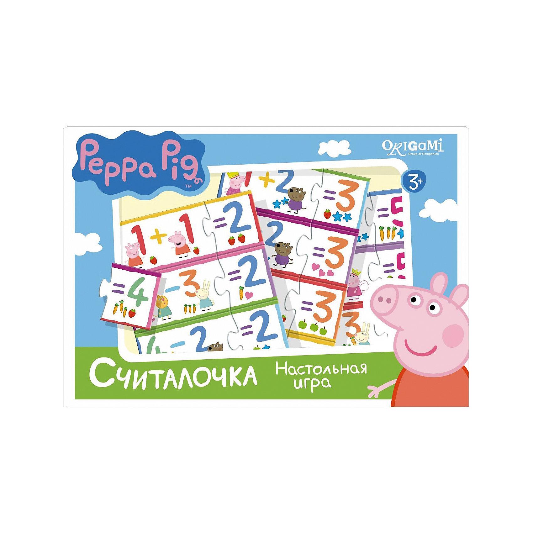 Игра Считалочка, Свинка ПеппаИгры для дошкольников<br>Игра Считалочка, Свинка Пеппа – это интересная настольная игра, которая увлечет вашего малыша и поможет ему научиться решать простые примеры.<br>Вместе с Пеппой и ее друзьями Ваш ребенок научится решать примеры на сложение и вычитание в пределах пяти и весело проведет время. В набор входят парные карточки - пример и ответ: 1+1 и 2, 5-2 и 3. Все карточки снабжены пазловыми замками, поэтому ребенок не сможет совершить ошибку в решении и совместить неподходящие друг другу детали. Эта игра поможет улучшить свои знания тем, кто уже умеет считать, и научит тех, кто только начинает это делать.<br><br>Дополнительная информация:<br><br>- В наборе: 32 карточки с пазловыми замками<br>- Материал: картон<br>- Размер коробки: 22x20x5 мм.<br>- Вес: 175 гр.<br><br>Игру Считалочка, Свинка Пеппа можно купить в нашем интернет-магазине.<br><br>Ширина мм: 220<br>Глубина мм: 200<br>Высота мм: 50<br>Вес г: 175<br>Возраст от месяцев: 36<br>Возраст до месяцев: 96<br>Пол: Унисекс<br>Возраст: Детский<br>SKU: 4335017