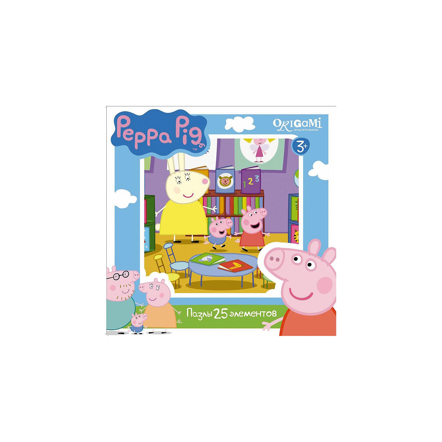 Пазл 25 деталей, Свинка ПеппаПазл 25 деталей, Свинка Пеппа - это увлекательный пазл, созданный для детей, которые любят с интересом и пользой проводить время.<br>Яркий и красочный пазл сделан по мотивам мультсериала о приключениях симпатичной маленькой свинки Пеппы. С помощью входящих в набор деталей ваш ребенок сможет собрать красочную картинку, на которой свинка Пеппа и Джордж пришли в библиотеку. Детали пазла прекрасно соединяются между собой, не расслаиваются и не ломаются при сборке. Эта головоломка позволит ребенку развить мелкую моторику рук, терпение, усидчивость, зрительную память и научит мыслить логически.<br><br>Дополнительная информация:<br><br>- В наборе: 25 деталей<br>- Размер собранного пазла: 22х22 см.<br>- Материал: картон<br>- Размер коробки: 15x4x15 мм.<br>- Вес: 130 гр.<br><br>Пазл 25 деталей, Свинка Пеппа можно купить в нашем интернет-магазине.<br><br>Ширина мм: 150<br>Глубина мм: 40<br>Высота мм: 150<br>Вес г: 130<br>Возраст от месяцев: 36<br>Возраст до месяцев: 96<br>Пол: Унисекс<br>Возраст: Детский<br>Количество деталей: 25<br>SKU: 4335022