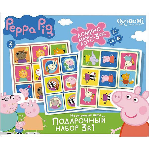 Набор 3в1: Лото + Мемо + Домино +3 пазла , Свинка ПеппаПазлы для малышей<br>Набор 3в1: Лото + Мемо + Домино +3 пазла , Свинка Пеппа – это интересные настольные игры со свинкой Пеппой, которые увлекут вашего ребенка.<br>Подарочный набор игр по мотивам любимого мультсериала о приключениях свинки Пеппы – это беспроигрышный вариант для детей с самыми разными вкусами и увлечениями. Такие гениальные, но при этом простые игры, как домино, лото и мемо, любят все без исключения. Кроме того, эти игры способствуют развитию логического мышления, внимательности и усидчивости. В подарок к набору также прилагаются три красочных пазла (два пазла по 24 детали и один пазл 18 деталей).<br><br>Дополнительная информация:<br><br>- Комплектация: игры: домино, лото, мемо, 3 пазла<br>- Материал: картон<br>- Размер коробки: 32x23,5х6 см.<br>- Вес: 528 гр.<br><br>Набор 3в1: Лото + Мемо + Домино +3 пазла , Свинка Пеппа можно купить в нашем интернет-магазине.<br>Ширина мм: 320; Глубина мм: 235; Высота мм: 60; Вес г: 528; Возраст от месяцев: 36; Возраст до месяцев: 96; Пол: Унисекс; Возраст: Детский; SKU: 4335024;