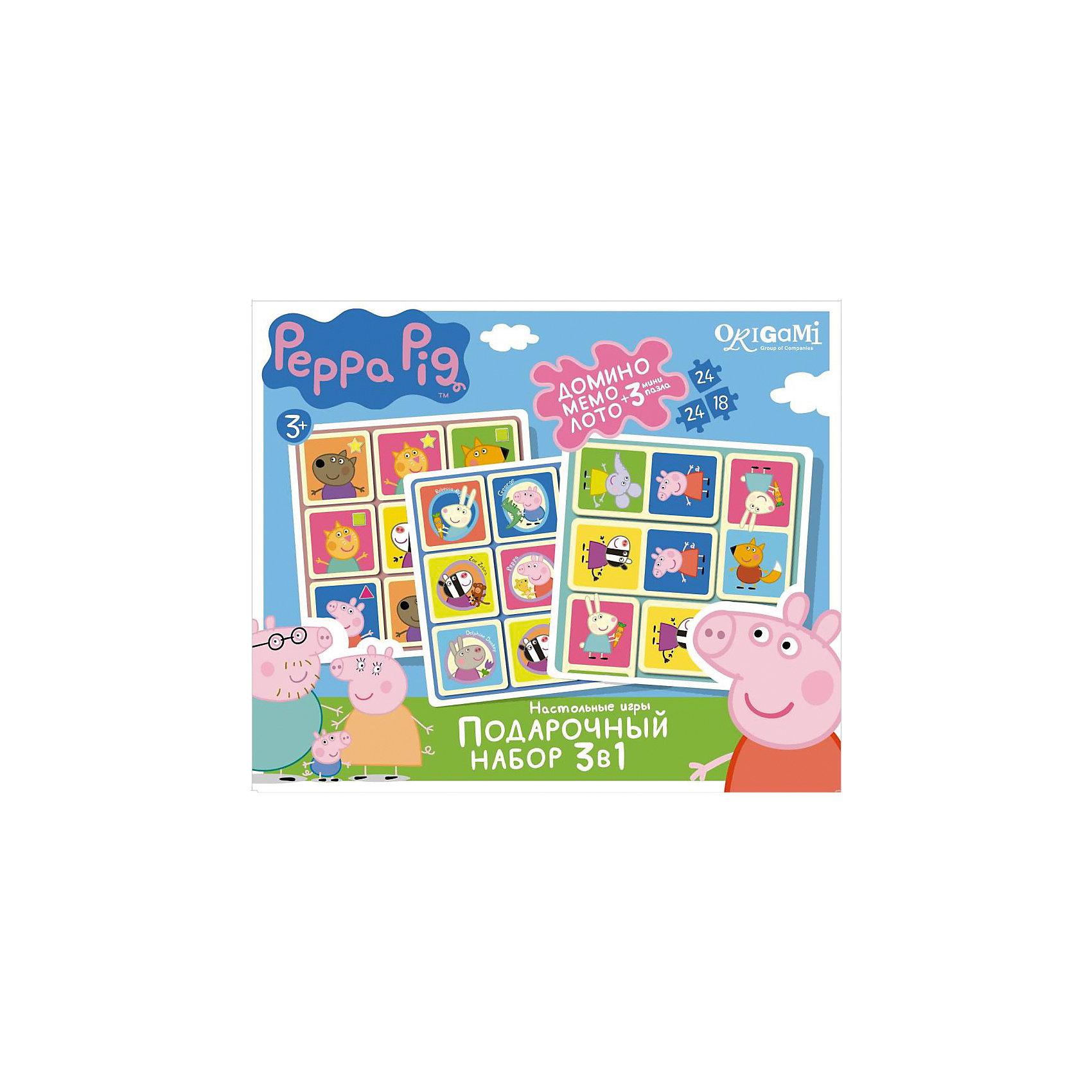 Набор 3в1: Лото + Мемо + Домино +3 пазла , Свинка ПеппаПазлы для малышей<br>Набор 3в1: Лото + Мемо + Домино +3 пазла , Свинка Пеппа – это интересные настольные игры со свинкой Пеппой, которые увлекут вашего ребенка.<br>Подарочный набор игр по мотивам любимого мультсериала о приключениях свинки Пеппы – это беспроигрышный вариант для детей с самыми разными вкусами и увлечениями. Такие гениальные, но при этом простые игры, как домино, лото и мемо, любят все без исключения. Кроме того, эти игры способствуют развитию логического мышления, внимательности и усидчивости. В подарок к набору также прилагаются три красочных пазла (два пазла по 24 детали и один пазл 18 деталей).<br><br>Дополнительная информация:<br><br>- Комплектация: игры: домино, лото, мемо, 3 пазла<br>- Материал: картон<br>- Размер коробки: 32x23,5х6 см.<br>- Вес: 528 гр.<br><br>Набор 3в1: Лото + Мемо + Домино +3 пазла , Свинка Пеппа можно купить в нашем интернет-магазине.<br><br>Ширина мм: 320<br>Глубина мм: 235<br>Высота мм: 60<br>Вес г: 528<br>Возраст от месяцев: 36<br>Возраст до месяцев: 96<br>Пол: Унисекс<br>Возраст: Детский<br>SKU: 4335024