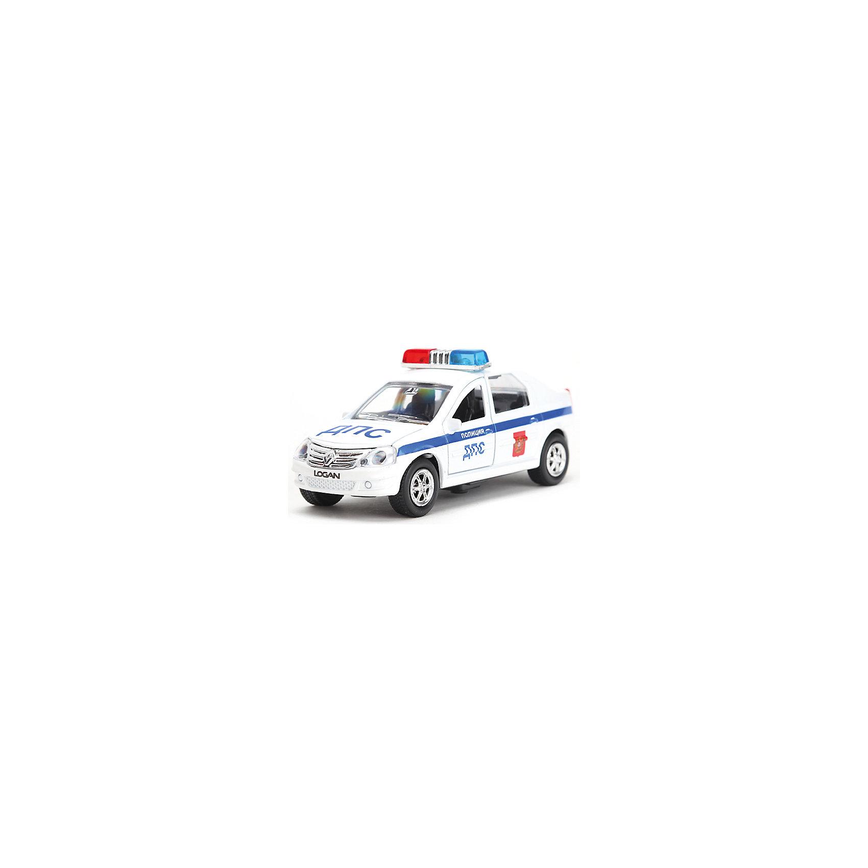 ТЕХНОПАРК Машина RENAULT LOGAN ДПС, 1:43, со светом и звуком, ТЕХНОПАРК авианосец инерционный технопарк