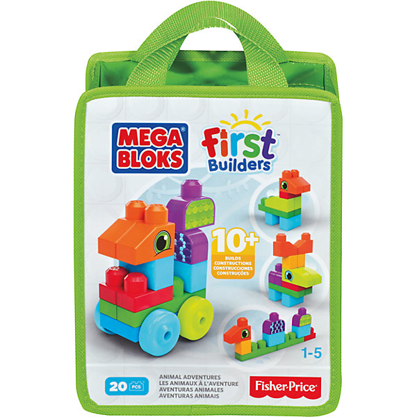 Конструктор, в ассортименте, MEGA BLOKS First BuildersПластмассовые конструкторы<br>Конструктор MEGA BLOKS (Мегаблокс), First Builders - это яркий красочный набор, который идеально подойдет для самых маленьких строителей. В комплект входит 20 деталей различных форм и цветов, которые предоставляют безграничный простор для фантазии. Из них можно собрать разнообразные машинки и автотехнику или забавных зверюшек (в ассортименте). Все элементы имеют крупный размер и форму, удобную для детских ручек. Конструктор компактно складывается в нарядную сумку с ручкой, которую удобно носить с собой. Прекрасно развивает мелкую моторику, фантазию и воображение ребенка, учит его усидчивости и внимательности. Конструктор совместим с другими наборами серии First Builders.<br><br>Дополнительная информация:<br><br>- Количество деталей: 20.   <br>- Материал: пластик.<br>- Размер упаковки: 25,4 x 20,3 x 10 см. <br>- Вес: 0,45 кг.<br><br>Конструктор, в ассортименте, MEGA BLOKS (Мегаблокс) First Builders, можно купить в нашем интернет-магазине.<br><br>ВНИМАНИЕ! Данный артикул имеется в наличии в разных вариантах исполнения. Заранее выбрать определенный вариант нельзя. При заказе нескольких конструкторов возможно получение одинаковых.<br><br>Ширина мм: 266<br>Глубина мм: 210<br>Высота мм: 109<br>Вес г: 356<br>Возраст от месяцев: 12<br>Возраст до месяцев: 72<br>Пол: Унисекс<br>Возраст: Детский<br>SKU: 4336737