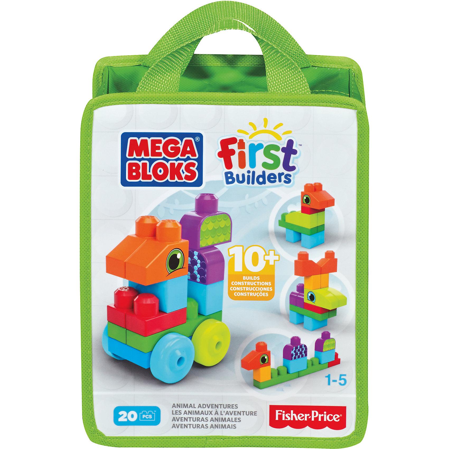 Конструктор, в ассортименте, MEGA BLOKS First BuildersКонструктор MEGA BLOKS (Мегаблокс), First Builders - это яркий красочный набор, который идеально подойдет для самых маленьких строителей. В комплект входит 20 деталей различных форм и цветов, которые предоставляют безграничный простор для фантазии. Из них можно собрать разнообразные машинки и автотехнику или забавных зверюшек (в ассортименте). Все элементы имеют крупный размер и форму, удобную для детских ручек. Конструктор компактно складывается в нарядную сумку с ручкой, которую удобно носить с собой. Прекрасно развивает мелкую моторику, фантазию и воображение ребенка, учит его усидчивости и внимательности. Конструктор совместим с другими наборами серии First Builders.<br><br>Дополнительная информация:<br><br>- Количество деталей: 20.   <br>- Материал: пластик.<br>- Размер упаковки: 25,4 x 20,3 x 10 см. <br>- Вес: 0,45 кг.<br><br>Конструктор, в ассортименте, MEGA BLOKS (Мегаблокс) First Builders, можно купить в нашем интернет-магазине.<br><br>ВНИМАНИЕ! Данный артикул имеется в наличии в разных вариантах исполнения. Заранее выбрать определенный вариант нельзя. При заказе нескольких конструкторов возможно получение одинаковых.<br><br>Ширина мм: 266<br>Глубина мм: 210<br>Высота мм: 109<br>Вес г: 356<br>Возраст от месяцев: 12<br>Возраст до месяцев: 72<br>Пол: Унисекс<br>Возраст: Детский<br>SKU: 4336737