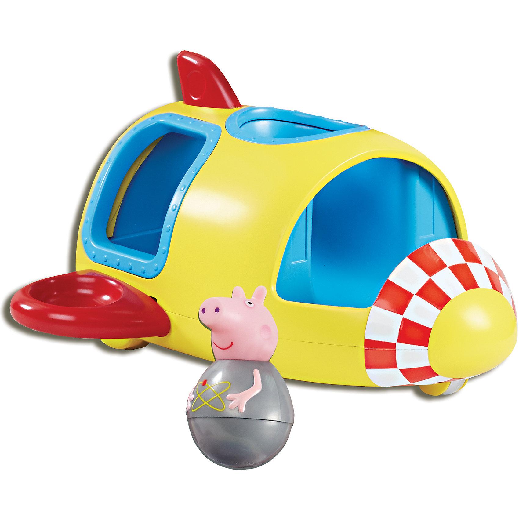 Игровой набор Ракета Пеппы неваляшки, Свинка ПеппаПриглашаем в космическое путешествие вместе с Пеппой-неваляшкой! В ее ракете 6 посадочных мест: 2 спереди, 2 сзади и 2 на крыльях. Ракета передвигается на колесиках, забавно покачивая крыльями, а свинка на сидении вращается, покачивается, не выпадая. Покрутите фигурку Пеппы на столе или полу, и она «затанцует», закрутится, закачается в разные стороны и даже не подумает упасть. С таким набором ребятишкам не придется скучать. А чтобы игра стала еще интереснее, можно приобрести друзей Пеппы из этой же серии, чтобы они вместе отправились в межгалактическое путешествие навстречу увлекательным приключениям. Такая игра развивает у малышей воображение, помогает им обмениваться знаниями и тренировать навыки общения.&#13;<br><br>Дополнительная информация:<br><br>В игровом наборе «Ракета Пеппы-неваляшки» ТМ «Свинка Пеппа» 2 предмета: Пеппа 7,8х4,5 см; ракета 24х26х14,5 см на колесиках с шестью круглыми сидениями.<br>Игрушки выполнены из безопасного пластика и пластизоля. <br><br>Игровой набор Ракета Пеппы неваляшки, Свинка Пеппа можно купить в нашем магазине.<br><br>Ширина мм: 180<br>Глубина мм: 280<br>Высота мм: 285<br>Вес г: 730<br>Возраст от месяцев: 36<br>Возраст до месяцев: 72<br>Пол: Унисекс<br>Возраст: Детский<br>SKU: 4338798
