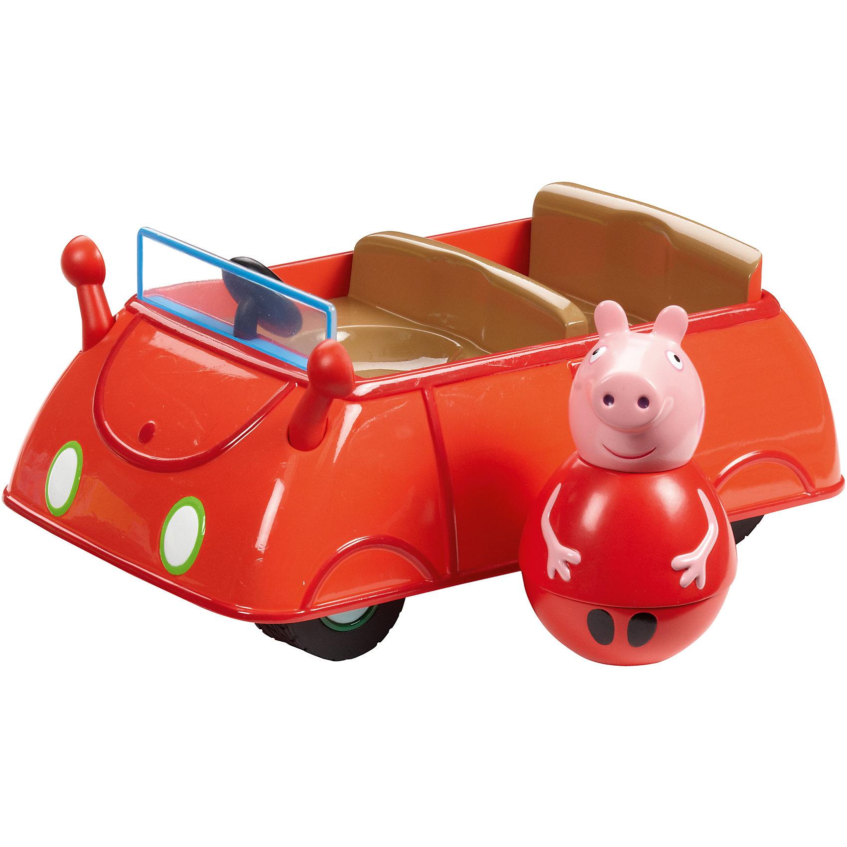Игровой набор Машина Пеппы неваляшки, Свинка ПеппаИгровые наборы<br>Свинка Пеппа приглашает малышей отправиться в увлекательное путешествие на красном кабриолете. В автомобиле для нее и ее друзей есть 2 круглых сидения: переднее и заднее. Они подходят как для неваляшек, так и для обычных фигурок из серии «Peppa Pig». Когда машина движется, Пеппа-неваляшка забавно покачивается и вращается, не выпадая. Покрутите фигурку свинки на столе или полу, и она «затанцует», закрутится, закачается в разные стороны и даже не подумает упасть. Игра с такой очаровательной фигуркой подарит ребятишкам море радости и поможет тренировать координацию движений, развивать мышление и будет стимулировать к ползанию. А чтобы игра стала интереснее, можно приобрести другие игрушки из этой серии.&#13;<br><br>Дополнительная информация:<br><br>В игровом наборе «Машина Пеппы-неваляшки» ТМ «Свинка Пеппа» 2 предмета: автомобиль 17,8х11х7,6 см с двумя сидениями, Пеппа-неваляшка 7,8х4,5 см с выпуклыми ручками. <br>Игрушки созданы из безопасного пластика и пластизоля.<br><br>Игровой набор Машина Пеппы неваляшки, Свинка Пеппа можно купить в нашем магазине.<br><br>Ширина мм: 150<br>Глубина мм: 240<br>Высота мм: 165<br>Вес г: 443<br>Возраст от месяцев: 36<br>Возраст до месяцев: 72<br>Пол: Унисекс<br>Возраст: Детский<br>SKU: 4338799