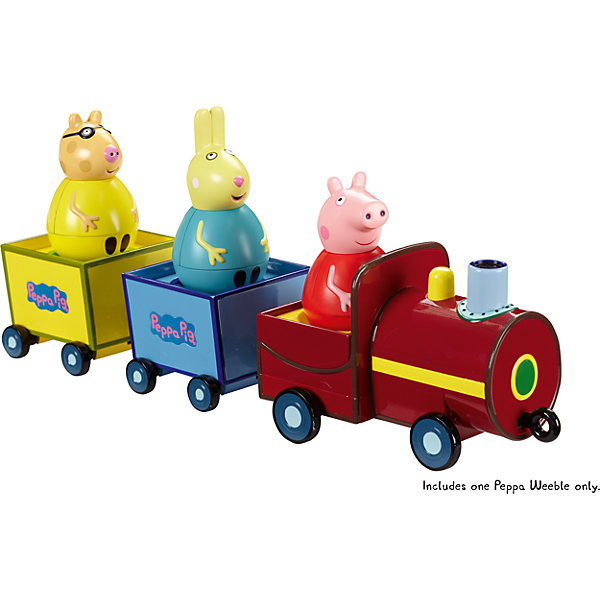 Игровой набор Поезд Пеппы неваляшки, Свинка ПеппаПопулярные игрушки<br>Свинка Пеппа приглашает малышей отправиться в увлекательное путешествие на паровозике. Там для нее и ее друзей есть 3 круглых сидения: по одному в локомотиве и двух отцепных вагончиках – они прекрасно подходят как для неваляшек, так и для обычных фигурок из серии «Peppa Pig». Когда поезд движется, вагончики забавно покачиваются, а Пеппа-неваляшка покачивается и вращается, не выпадая. Покрутите фигурку свинки на столе или полу, и она «затанцует», закрутится, закачается в разные стороны и даже не подумает упасть. Игра с такой очаровательной фигуркой подарит ребятишкам море радости и поможет тренировать координацию движений, стимулировать к ползанию и развивать мышление.<br><br>Дополнительная информация:<br><br>В игровом наборе «Поезд Пеппы-неваляшки» ТМ «Свинка Пеппа» 4 предмета: паровозик, два отцепных вагончика на колесиках размером 33 х 7,8 х 8,5 см, Пеппа-неваляшка размером 7,8 х 4,5см.<br>Игрушки выполнены из безопасного пластика и пластизоля.<br><br>Игровой набор Поезд Пеппы неваляшки, Свинка Пеппа можно купить в нашем магазине.<br>Ширина мм: 165; Глубина мм: 350; Высота мм: 105; Вес г: 493; Возраст от месяцев: 36; Возраст до месяцев: 72; Пол: Унисекс; Возраст: Детский; SKU: 4338800;