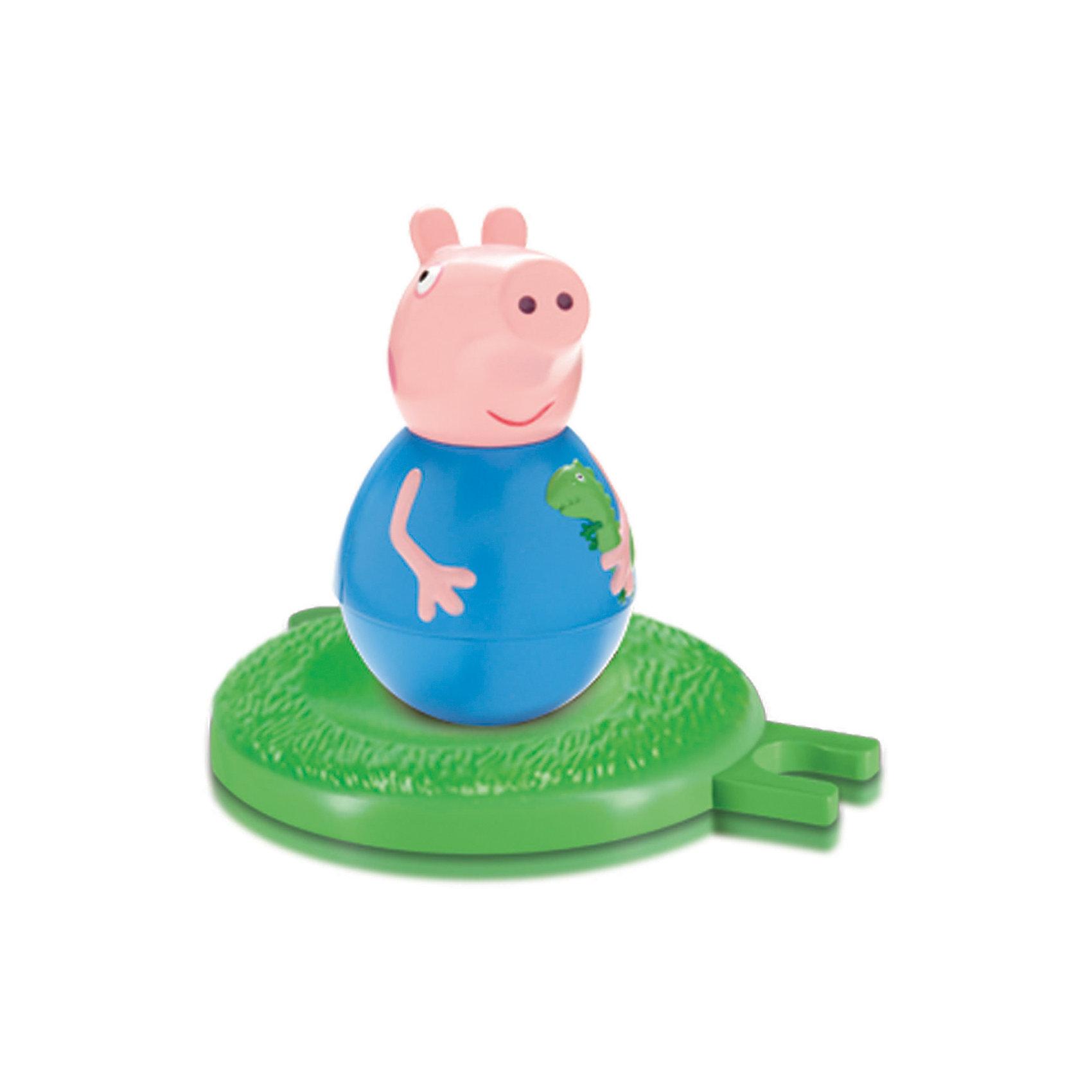 Фигурка неваляшка Джордж , Свинка ПеппаВеселая неваляшка «Джордж» создана для того, чтобы дарить малышам радость! Покрутите фигурку свинки на столе или полу, и она «затанцует», закрутится, закачается в разные стороны и даже не подумает упасть. Задорная игра с ней развивает у детей координацию движений, тренирует цветовосприятие и мышление. Соберите коллекцию неваляшек в виде любимых героев мультфильма «Свинка Пеппа» и устраивайте веселые игры с малютками!&#13;<br><br>Дополнительная информация:<br><br>В наборе: фигурка-неваляшка с выпуклыми ручками размером 7,8 х 4,5 см, игровое поле диаметром 8 см, соединяющееся с игровыми полями из других наборов по типу пазлов.<br>Игрушки выполнены из пластика и пластизоля. <br>Упаковка – коробка с блистером размером 17 х 15 х 5,5 см.<br><br>Фигурку неваляшку Джордж , Свинка Пеппа можно купить в нашем магазине.<br><br>Ширина мм: 170<br>Глубина мм: 152<br>Высота мм: 55<br>Вес г: 140<br>Возраст от месяцев: 36<br>Возраст до месяцев: 72<br>Пол: Унисекс<br>Возраст: Детский<br>SKU: 4338804