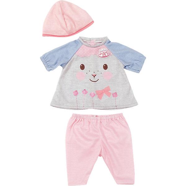 Одежда для куклы 36 см, my first Baby Annabell, в ассортиментеБренды кукол<br>Прекрасный комплект для самой любимой куклы на свете! В каждый комплект входит 3 предмета - шапочка, штанишки и кофточка. В дизайне используется классический стиль Zapf Creation - пастельные тона, милые принты, розовый и голубой цвета. Одежда выполнена из высококачественного текстильного материала, с учетом пропорций куклы.<br><br>Дополнительная информация:<br><br>- Материал: текстиль.<br>- Комплектация: кофта, шапочка, штанишки.  <br>- Цвет: розовый, голубой.<br>- В ассортименте ( все комплекты продаются отдельно).<br>ВНИМАНИЕ! Данный артикул представлен в разных вариантах исполнения. К сожалению, заранее выбрать определенный вариант невозможно. При заказе нескольких наборов одежды возможно получение одинаковых.<br><br>Одежду для куклы 36 см, my first Baby Annabell, в ассортименте, (Беби Анабель), можно купить в нашем магазине.<br>Ширина мм: 177; Глубина мм: 164; Высота мм: 53; Вес г: 73; Возраст от месяцев: 12; Возраст до месяцев: 36; Пол: Женский; Возраст: Детский; SKU: 4339330;