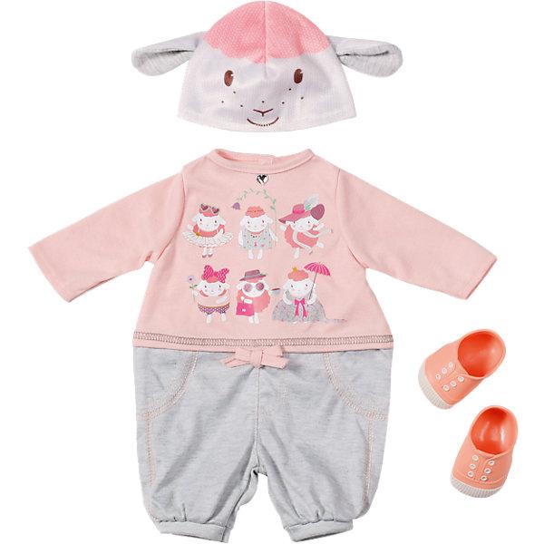 Одежда для прогулки, Baby AnnabellОдежда для кукол<br>Прекрасная одежда для самой любимой куклы на свете! В комплект входят очаровательные трикотажные штанишки, кофточка с длинным рукавом, украшенная уморительными и очень обаятельными овечками, вышитыми на груди и розовые ботиночки. А самым прелестным аксессуаром из этого набора стала очаровательная шапочка с изображением мордочки овечки и овечьими ушками.<br><br>Дополнительная информация:<br><br>- Материал: текстиль.<br>- Комплектация: штанишки, кофта, шапочка, ботиночки.<br>- Цвет: розовый, голубой.<br><br>Одежду для прогулки, Baby Annabell (Беби Анабель), можно купить в нашем магазине.<br>Ширина мм: 363; Глубина мм: 319; Высота мм: 83; Вес г: 417; Возраст от месяцев: 36; Возраст до месяцев: 60; Пол: Женский; Возраст: Детский; SKU: 4339333;