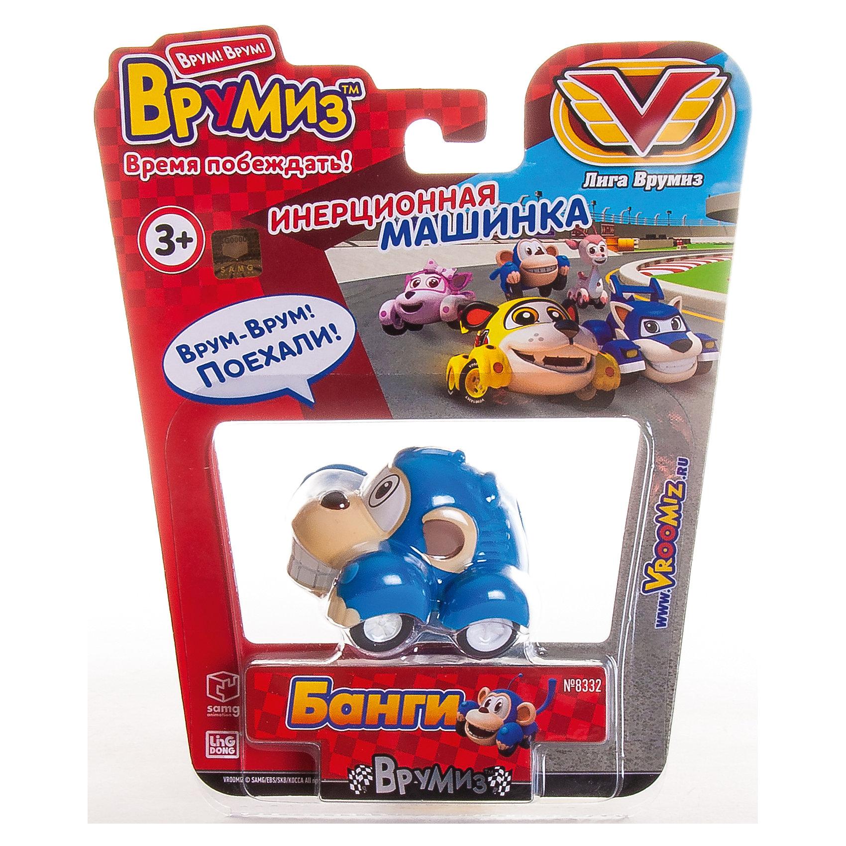 Инерционная машинка Банги, ВрумизИгрушки<br>Инерционная машинка Банги, Врумиз, станет отличным подарком для самых маленьких автолюбителей. Игрушка выполнена в виде в виде ловкой и быстрой обезьянки Банги - одного из популярных героев мультсериала Врумиз (Vroomiz). В необычном городе Зиппи Сити живут удивительные машинки-зверюшки, каждый день они попадают в различные забавные, а иногда и опасные ситуации, но благодаря своей дружбе упорно преодолевают все трудности, встретившиеся на пути. Банги - отважный, честный и очень добрый малыш, который всегда готов прийти на помощь тем, кто оказался в беде. Машинка отличается высоким качеством исполнения и полностью воспроизводит внешний вид своего персонажа, у нее яркая синяя окраска и забавная мордочка с ушками. Игрушка оснащена инерционным механизмом, если слегка откатить ее назад и отпустить, она устремится вперед.<br><br>Дополнительная информация:  <br>      <br>- Материал: пластик. <br>- Размер машинки: 4,5 х 5,5 см <br>- Размер упаковки: 17 х 19,5 х 7 см.<br>- Вес: 0,1 кг.<br><br>Инерционную машинку Банги, Врумиз, можно купить в нашем интернет-магазине.<br><br>Ширина мм: 170<br>Глубина мм: 195<br>Высота мм: 70<br>Вес г: 94<br>Возраст от месяцев: 36<br>Возраст до месяцев: 120<br>Пол: Унисекс<br>Возраст: Детский<br>SKU: 4340061