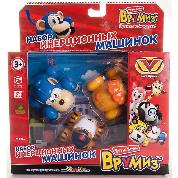 Набор инерционных машинок Банги, Лайонел, Мак Тигр, ВрумизИгрушки<br>Набор инерционных машинок Банги, Лайонел, Мак Тигр, Врумиз, станет отличным подарком для самых маленьких автолюбителей. Игрушки выполнены в виде популярных героев мультсериала Врумиз (Vroomiz) - обезьянки Банги, льва Лайонела и Мак Тигра. В необычном городе Зиппи Сити живут удивительные машинки-зверюшки, каждый день они попадают в различные забавные, а иногда и опасные ситуации, но благодаря своей дружбе упорно преодолевают все трудности, встретившиеся на пути. У каждого персонажа свой характер и особенности: ловкий и быстрый Банги всегда готов прийти на помощь тем, кто оказался в беде; Лайонел гордый и сильный как настоящий лев; строгий, но справедливый Мак Тигр. - шеф полиции Зиппи Сити. Машинки отличаются высоким качеством исполнения и полностью воспроизводят внешний вид своих персонажей. Каждая игрушка оснащена инерционным механизмом, если слегка откатить ее назад и отпустить, она устремится вперед.<br><br>Дополнительная информация:  <br><br>- В комплекте: 3 машинки (Банги, Лайонел, Мак Тигр).   <br>- Материал: пластик. <br>- Размер упаковки: 20,5 х 22,5 х 6 см.<br>- Вес: 0,25 кг.<br><br>Набор инерционных машинок Банги, Лайонел, Мак Тигр, Врумиз, можно купить в нашем интернет-магазине.<br><br>Ширина мм: 205<br>Глубина мм: 225<br>Высота мм: 60<br>Вес г: 186<br>Возраст от месяцев: 36<br>Возраст до месяцев: 120<br>Пол: Унисекс<br>Возраст: Детский<br>SKU: 4340068