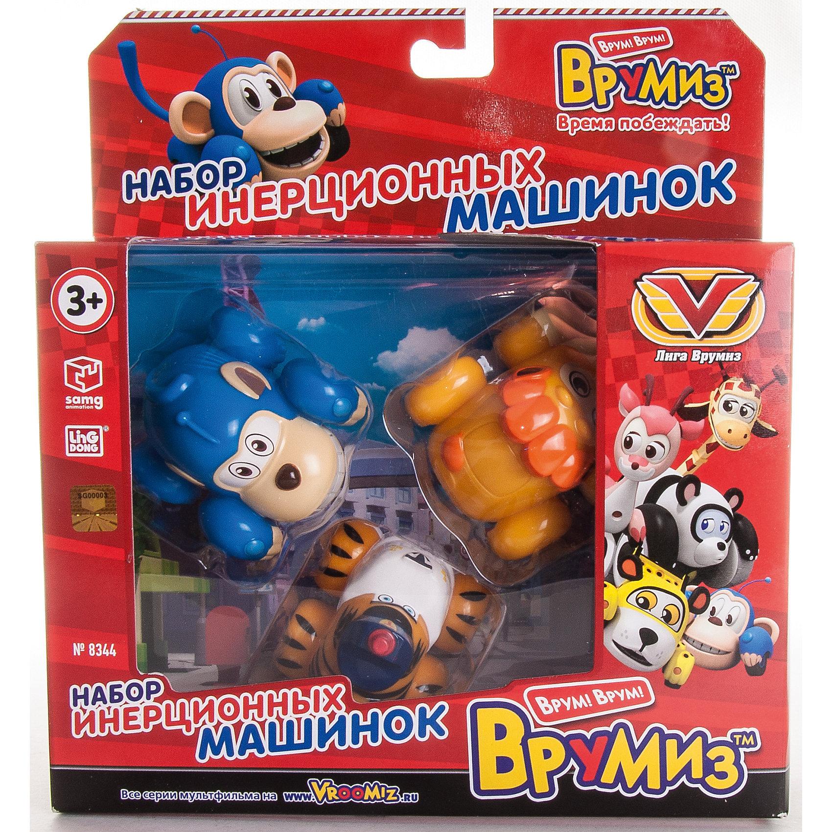 Набор инерционных машинок Банги, Лайонел, Мак Тигр, ВрумизИгровые наборы<br>Набор инерционных машинок Банги, Лайонел, Мак Тигр, Врумиз, станет отличным подарком для самых маленьких автолюбителей. Игрушки выполнены в виде популярных героев мультсериала Врумиз (Vroomiz) - обезьянки Банги, льва Лайонела и Мак Тигра. В необычном городе Зиппи Сити живут удивительные машинки-зверюшки, каждый день они попадают в различные забавные, а иногда и опасные ситуации, но благодаря своей дружбе упорно преодолевают все трудности, встретившиеся на пути. У каждого персонажа свой характер и особенности: ловкий и быстрый Банги всегда готов прийти на помощь тем, кто оказался в беде; Лайонел гордый и сильный как настоящий лев; строгий, но справедливый Мак Тигр. - шеф полиции Зиппи Сити. Машинки отличаются высоким качеством исполнения и полностью воспроизводят внешний вид своих персонажей. Каждая игрушка оснащена инерционным механизмом, если слегка откатить ее назад и отпустить, она устремится вперед.<br><br>Дополнительная информация:  <br><br>- В комплекте: 3 машинки (Банги, Лайонел, Мак Тигр).   <br>- Материал: пластик. <br>- Размер упаковки: 20,5 х 22,5 х 6 см.<br>- Вес: 0,25 кг.<br><br>Набор инерционных машинок Банги, Лайонел, Мак Тигр, Врумиз, можно купить в нашем интернет-магазине.<br><br>Ширина мм: 205<br>Глубина мм: 225<br>Высота мм: 60<br>Вес г: 186<br>Возраст от месяцев: 36<br>Возраст до месяцев: 120<br>Пол: Унисекс<br>Возраст: Детский<br>SKU: 4340068
