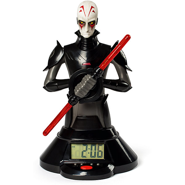 Часы со световым мечом, Звездные войны, SpinmasterКоллекционные фигурки<br>Часы со световым мечом, Звездные войны, Spinmaster (Спин Мастер) - оригинальная игрушка, которая порадует всех юных поклонников знаменитой киноэпопеи Звездные войны (Star Wars). Часы с функцией будильника выполнены в виде фигурки одного из главных злодеев фильма Звёздные войны: Повстанцы - Инквизитора. Фигурка прикреплена к устойчивой подставке и держит в руках красный световой меч. Меч выполняет функцию часовой стрелки и вращаясь, проецирует время и светится. Для большего удобства у основания фигурки имеется цифровой дисплей, который также показывает время.<br><br>Дополнительная информация:        <br><br>- Материал: пластик. <br>- Требуются батарейки: 3 х ААА (входят в комплект).<br>- Высота фигурки с подставкой: 25 см. <br>- Размер упаковки: 33 х 18 х 27 см.<br>- Вес: 1,09 кг.<br><br>Часы со световым мечом, Звездные войны, Spinmaster, можно купить в нашем интернет-магазине.<br><br>Ширина мм: 330<br>Глубина мм: 270<br>Высота мм: 180<br>Вес г: 1090<br>Возраст от месяцев: 36<br>Возраст до месяцев: 192<br>Пол: Мужской<br>Возраст: Детский<br>SKU: 4340075