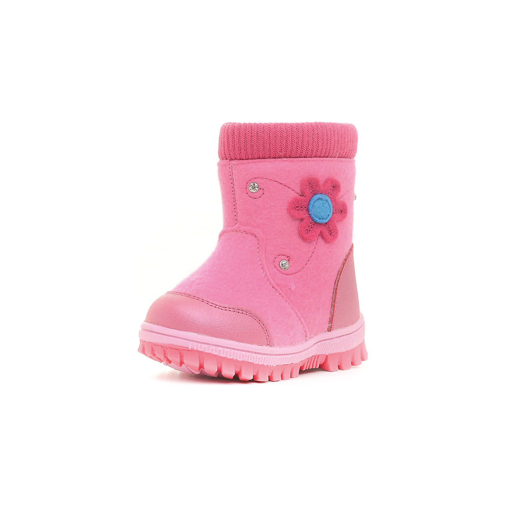 Валенки для девочки Indigo kidsВаленки для девочки от известного  бренда Indigo kids<br><br>Модные валенки помогут защитить детские ножки от сырости и холода. Они легко надеваются, комфортно садятся по ноге.<br><br>Особенности модели:<br><br>- цвет - розовый;<br>- стильный дизайн;<br>- защита пятки и пальцев;<br>- удобная колодка;<br>- подкладка утепленная;<br>- стразы, аппликация цветок на голенище;<br>- устойчивая рифленая подошва;<br>- застежка - молния.<br><br>Дополнительная информация:<br><br>Температурный режим:<br><br>от -20° С до 0° С<br><br>Состав:<br><br>верх – войлок/кожа натуральная;<br>подкладка - шерсть.<br><br>Валенки для девочки Indigo kids (Индиго Кидс) можно купить в нашем магазине.<br><br>Ширина мм: 257<br>Глубина мм: 180<br>Высота мм: 130<br>Вес г: 420<br>Цвет: розовый<br>Возраст от месяцев: 24<br>Возраст до месяцев: 24<br>Пол: Женский<br>Возраст: Детский<br>Размер: 25,23,21,26,24,22<br>SKU: 4340447