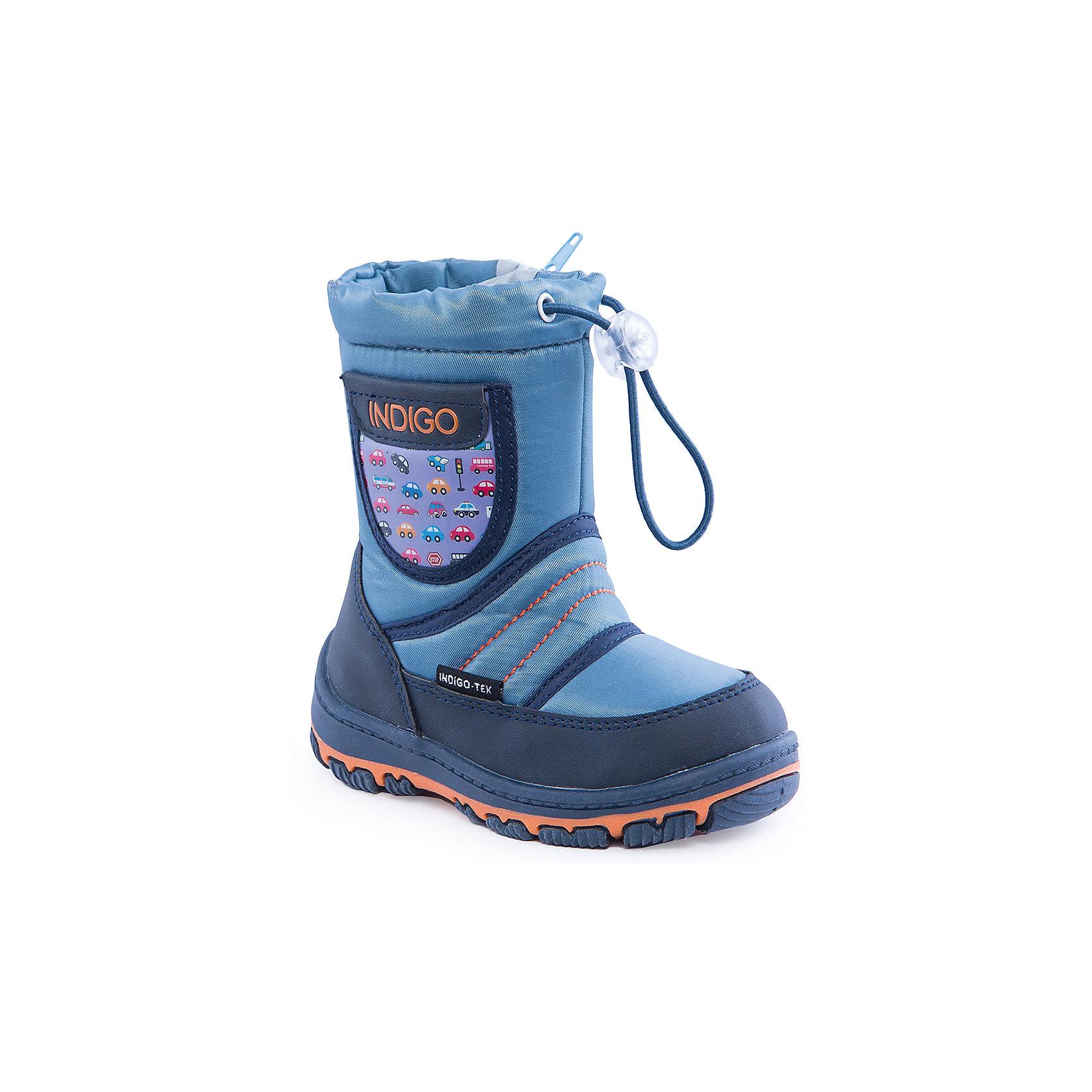 Сапоги для мальчика Indigo kidsОбувь для малышей<br>Сапоги для мальчика от известного  бренда Indigo kids<br><br>Модные и удобные сапоги помогут защитить детские ножки от сырости и холода. Они легко надеваются, комфортно садятся по ноге.  Они легко надеваются, комфортно садятся по ноге. <br>Сапоги сделаны с применением технологии INDIGO TEX – это мембранный материал, выводящий влагу из обуви наружу, но не позволяющий сырости проникать внутрь.<br><br>Особенности модели:<br><br>- цвет - синий;<br>- стильный дизайн;<br>- защита пятки и пальцев;<br>- удобная колодка;<br>- подкладка шерстяная;<br>- вставка с автомобильным принтом;<br>- наверху голенища - утяжка со стоппером;<br>- мембрана INDIGO TEX;<br>- устойчивая рифленая подошва;<br>- застежка - молния.<br><br>Дополнительная информация:<br><br>Температурный режим:<br>от -10° С до +5° С<br><br>Состав:<br><br>верх – текстиль/искусственная кожа;<br>подкладка - шерсть;<br>подошва - полимер.<br><br>Сапоги для мальчика Indigo kids (Индиго Кидс) можно купить в нашем магазине.<br><br>Ширина мм: 257<br>Глубина мм: 180<br>Высота мм: 130<br>Вес г: 420<br>Цвет: синий<br>Возраст от месяцев: 24<br>Возраст до месяцев: 24<br>Пол: Мужской<br>Возраст: Детский<br>Размер: 25,22,27,26,24,23<br>SKU: 4340503