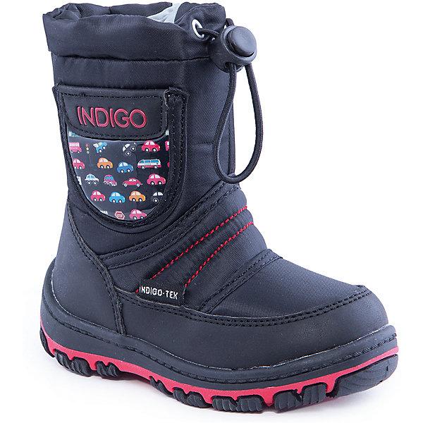 Сапоги для мальчика Indigo kidsСапоги<br>Сапоги для мальчика от известного  бренда Indigo kids<br><br>Стильные утепленные сапоги помогут защитить детские ножки от сырости и холода.  Они легко надеваются, комфортно садятся по ноге. <br>Сапоги сделаны с применением технологии INDIGO TEX – это мембранный материал, выводящий влагу из обуви наружу, но не позволяющий сырости проникать внутрь.<br><br>Особенности модели:<br><br>- цвет - черный;<br>- стильный дизайн;<br>- защита пятки и пальцев;<br>- удобная колодка;<br>- подкладка шерстяная;<br>- вставка с автомобильным принтом;<br>- наверху голенища - утяжка со стоппером;<br>- мембрана INDIGO TEX;<br>- устойчивая рифленая подошва;<br>- застежка - молния.<br><br>Дополнительная информация:<br><br>Температурный режим:<br>от -10° С до +5° С<br><br>Состав:<br><br>верх – текстиль/искусственная кожа;<br>подкладка - шерсть;<br>подошва - полимер.<br><br>Сапоги для мальчика Indigo kids (Индиго Кидс) можно купить в нашем магазине.<br><br>Ширина мм: 257<br>Глубина мм: 180<br>Высота мм: 130<br>Вес г: 420<br>Цвет: черный<br>Возраст от месяцев: 15<br>Возраст до месяцев: 18<br>Пол: Мужской<br>Возраст: Детский<br>Размер: 22,23,25,27,26,24<br>SKU: 4340510