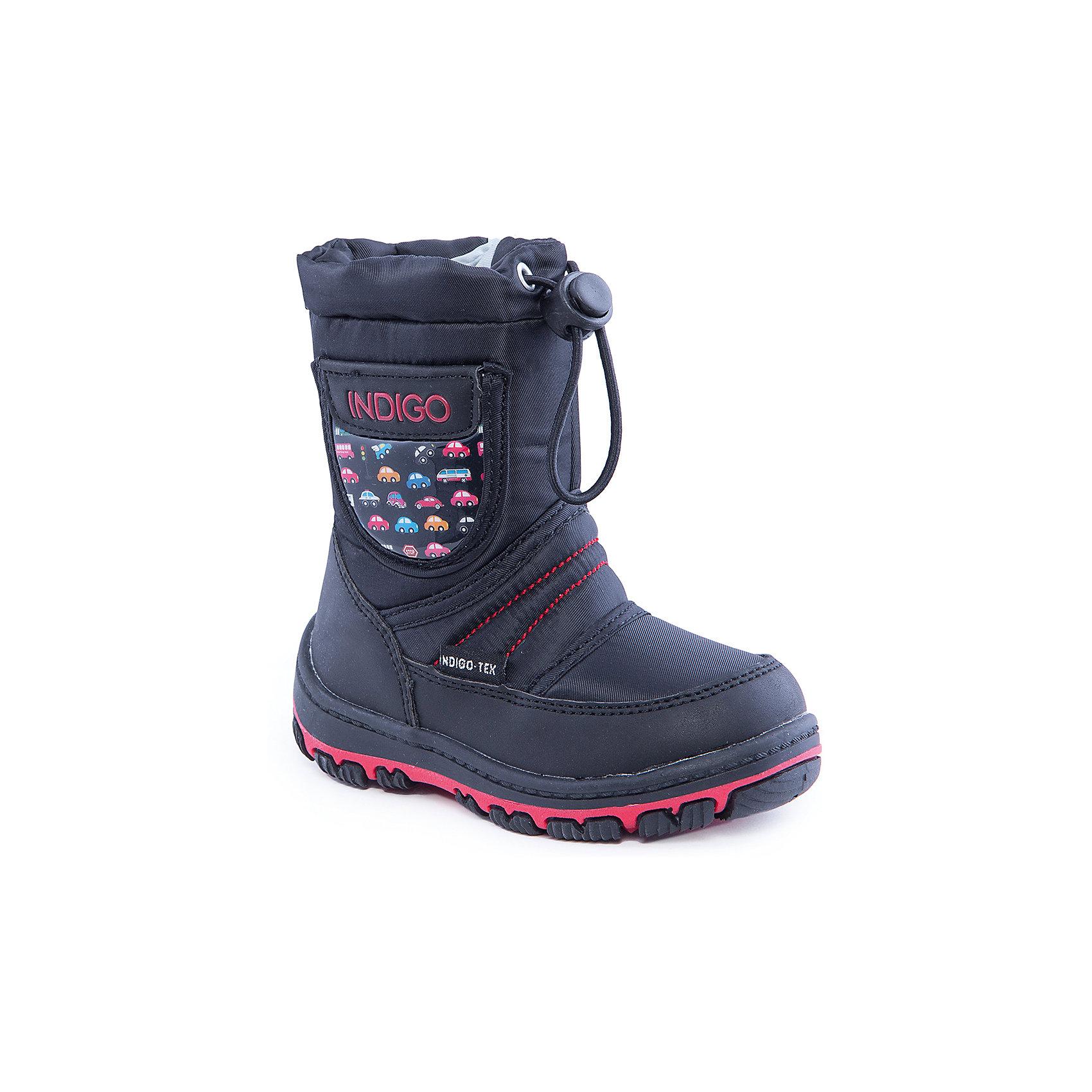 Сапоги для мальчика Indigo kidsОбувь для малышей<br>Сапоги для мальчика от известного  бренда Indigo kids<br><br>Стильные утепленные сапоги помогут защитить детские ножки от сырости и холода.  Они легко надеваются, комфортно садятся по ноге. <br>Сапоги сделаны с применением технологии INDIGO TEX – это мембранный материал, выводящий влагу из обуви наружу, но не позволяющий сырости проникать внутрь.<br><br>Особенности модели:<br><br>- цвет - черный;<br>- стильный дизайн;<br>- защита пятки и пальцев;<br>- удобная колодка;<br>- подкладка шерстяная;<br>- вставка с автомобильным принтом;<br>- наверху голенища - утяжка со стоппером;<br>- мембрана INDIGO TEX;<br>- устойчивая рифленая подошва;<br>- застежка - молния.<br><br>Дополнительная информация:<br><br>Температурный режим:<br>от -10° С до +5° С<br><br>Состав:<br><br>верх – текстиль/искусственная кожа;<br>подкладка - шерсть;<br>подошва - полимер.<br><br>Сапоги для мальчика Indigo kids (Индиго Кидс) можно купить в нашем магазине.<br><br>Ширина мм: 257<br>Глубина мм: 180<br>Высота мм: 130<br>Вес г: 420<br>Цвет: черный<br>Возраст от месяцев: 15<br>Возраст до месяцев: 18<br>Пол: Мужской<br>Возраст: Детский<br>Размер: 22,27,23,24,26,25<br>SKU: 4340510