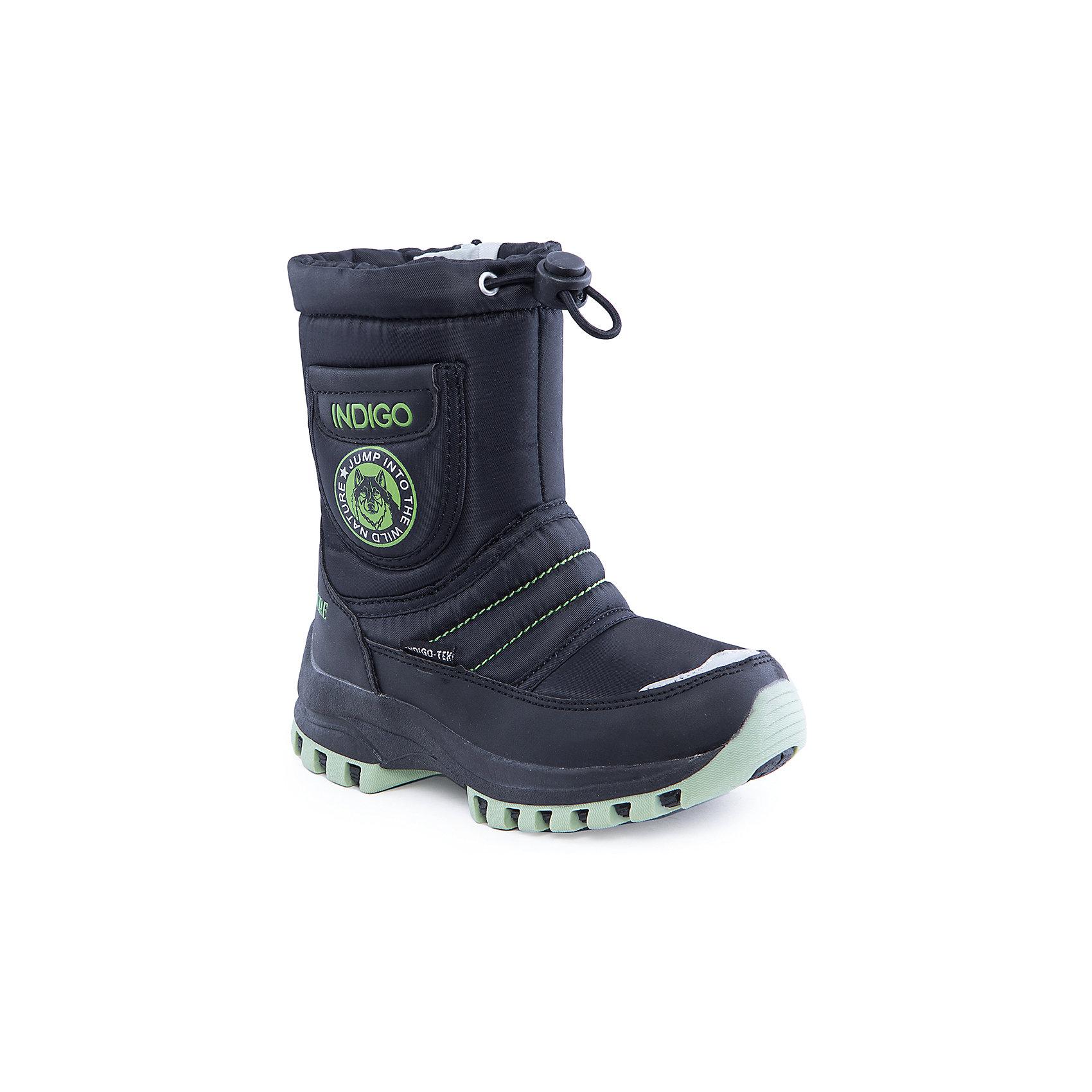 Сапоги для мальчика Indigo kidsСапоги<br>Сапоги для мальчика от известного  бренда Indigo kids<br><br>Стильные утепленные сапоги помогут защитить детские ножки от сырости и холода. Они легко надеваются, комфортно садятся по ноге. <br>Сапоги сделаны с применением технологии INDIGO TEX – это мембранный материал, выводящий влагу из обуви наружу, но не позволяющий сырости проникать внутрь.<br><br>Особенности модели:<br><br>- цвет - черный;<br>- стильный дизайн;<br>- защита пятки и пальцев;<br>- удобная колодка;<br>- подкладка шерстяная;<br>- вставка с изображением волка и надписью;<br>- наверху голенища - утяжка со стоппером;<br>- мембрана INDIGO TEX;<br>- устойчивая рифленая подошва;<br>- застежка - молния.<br><br>Дополнительная информация:<br><br>Температурный режим:<br>от -10° С до +5° С<br><br>Состав:<br><br>верх – текстиль/искусственная кожа;<br>подкладка - шерсть;<br>подошва - полимер.<br><br>Сапоги для мальчика Indigo kids (Индиго Кидс) можно купить в нашем магазине.<br><br>Ширина мм: 257<br>Глубина мм: 180<br>Высота мм: 130<br>Вес г: 420<br>Цвет: черный<br>Возраст от месяцев: 48<br>Возраст до месяцев: 60<br>Пол: Мужской<br>Возраст: Детский<br>Размер: 28,26,30,29,31,27<br>SKU: 4340524