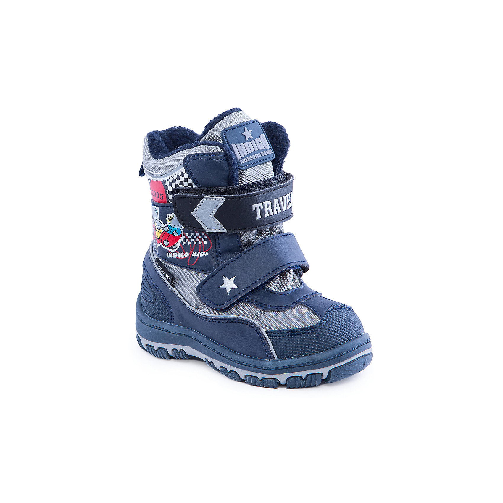 Сапоги для мальчика Indigo kidsСапоги для мальчика от известного  бренда Indigo kids<br><br>Модные и удобные сапоги помогут защитить детские ножки от сырости и холода.  Они легко надеваются, комфортно садятся по ноге. <br>Сапоги сделаны с применением технологии INDIGO TEX – это мембранный материал, выводящий влагу из обуви наружу, но не позволяющий сырости проникать внутрь.<br><br>Особенности модели:<br><br>- цвет - синий;<br>- стильный дизайн;<br>- защита пятки и пальцев;<br>- удобная колодка;<br>- подкладка шерстяная;<br>- вставка с тематическим изображением гонки;<br>- мембрана INDIGO TEX;<br>- устойчивая рифленая подошва;<br>- застежки - липучки.<br><br>Дополнительная информация:<br><br>Температурный режим:<br>от -15° С до +5° С<br><br>Состав:<br><br>верх – текстиль/искусственная кожа;<br>подкладка - шерсть;<br>подошва - полимер.<br><br>Сапоги для мальчика Indigo kids (Индиго Кидс) можно купить в нашем магазине.<br><br>Ширина мм: 257<br>Глубина мм: 180<br>Высота мм: 130<br>Вес г: 420<br>Цвет: синий<br>Возраст от месяцев: 15<br>Возраст до месяцев: 18<br>Пол: Мужской<br>Возраст: Детский<br>Размер: 22,27,26,25,24,23<br>SKU: 4340538