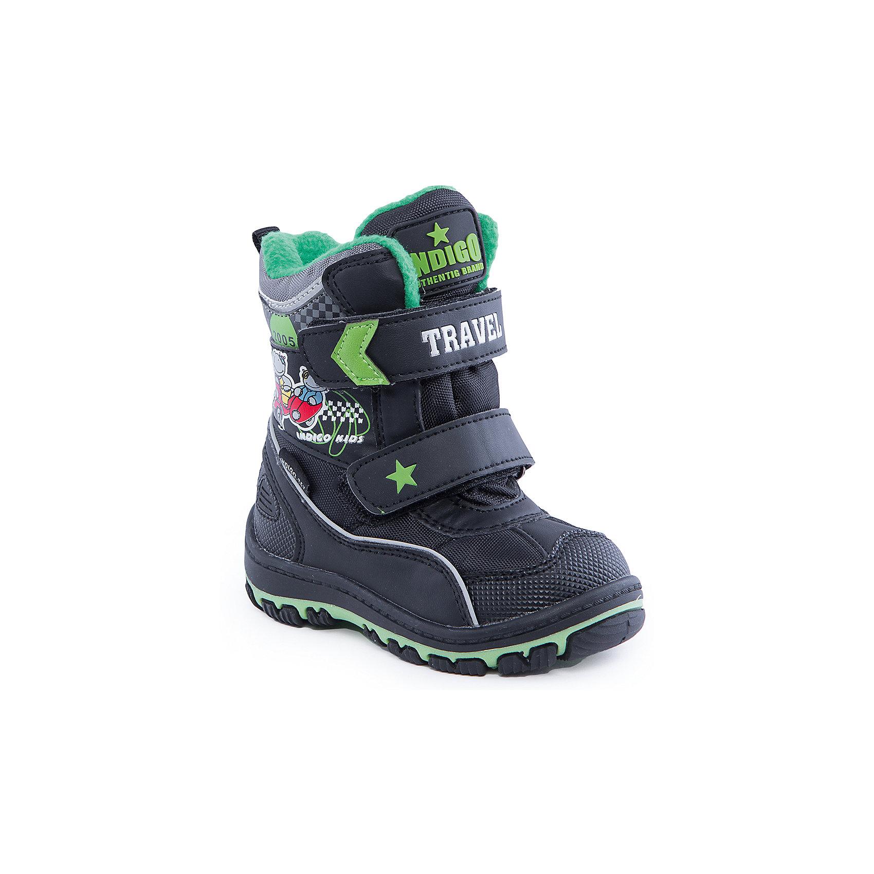 Сапоги для мальчика Indigo kidsСапоги для мальчика от известного  бренда Indigo kids<br><br>Утепленные сапоги помогут защитить детские ножки от сырости и холода.  Они легко надеваются, комфортно садятся по ноге. <br>Сапоги сделаны с применением технологии INDIGO TEX – это мембранный материал, выводящий влагу из обуви наружу, но не позволяющий сырости проникать внутрь.<br><br>Особенности модели:<br><br>- цвет - черный;<br>- стильный дизайн;<br>- защита пятки и пальцев;<br>- удобная колодка;<br>- подкладка шерстяная;<br>- вставка с тематическим изображением гонки;<br>- мембрана INDIGO TEX;<br>- устойчивая рифленая подошва;<br>- застежки - липучки.<br><br>Дополнительная информация:<br><br>Температурный режим:<br>от -15° С до +5° С<br><br>Состав:<br><br>верх – текстиль/искусственная кожа;<br>подкладка - шерсть;<br>подошва - полимер.<br><br>Сапоги для мальчика Indigo kids (Индиго Кидс) можно купить в нашем магазине.<br><br>Ширина мм: 257<br>Глубина мм: 180<br>Высота мм: 130<br>Вес г: 420<br>Цвет: черный<br>Возраст от месяцев: 15<br>Возраст до месяцев: 18<br>Пол: Мужской<br>Возраст: Детский<br>Размер: 22,27,26,25,24,23<br>SKU: 4340545