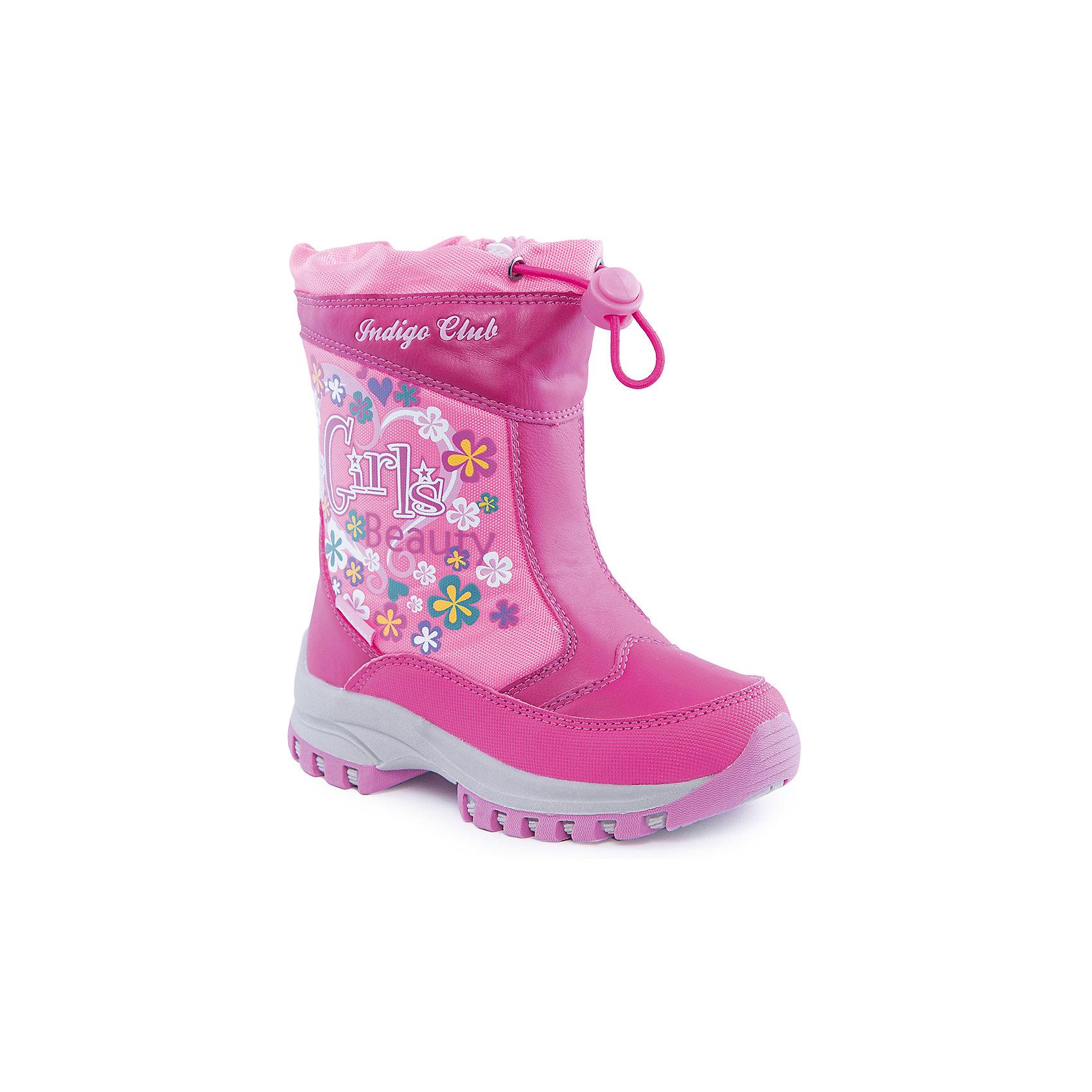 Сапоги для девочки Indigo kidsСапоги для девочки от известного  бренда Indigo kids<br><br>Розовые сапоги с принтом помогут защитить ноги от сырости и холода. Они легко надеваются, комфортно садятся по ноге. <br><br>Особенности модели:<br><br>- цвет - розовый;<br>- стильный дизайн;<br>- на голенище - принт с цветами и надписью;<br>- удобная колодка;<br>- подкладка шерстяная;<br>- наверху - утяжка со стоппером;<br>- устойчивая подошва;<br>- застежка - молния.<br><br>Дополнительная информация:<br><br>Температурный режим:<br>от -15° С до +5° С<br><br>Состав:<br><br>верх – текстиль/искусственная кожа;<br>подкладка - шерсть;<br>подошва - полимер.<br><br>Сапоги для девочки Indigo kids (Индиго Кидс) можно купить в нашем магазине.<br><br>Ширина мм: 257<br>Глубина мм: 180<br>Высота мм: 130<br>Вес г: 420<br>Цвет: розовый<br>Возраст от месяцев: 84<br>Возраст до месяцев: 96<br>Пол: Женский<br>Возраст: Детский<br>Размер: 31,26,27,28,29,30<br>SKU: 4340559