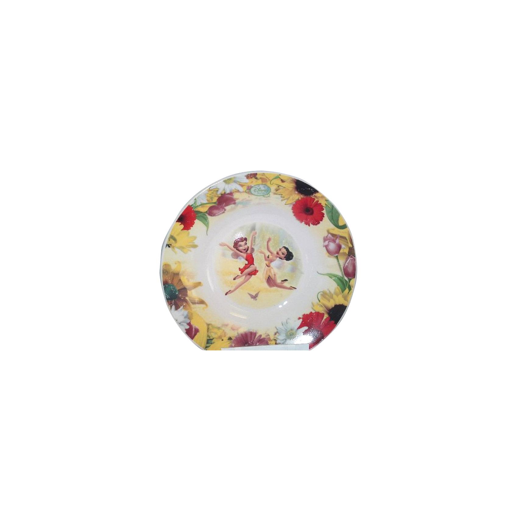 Глубокая тарелка Розетта и Иридесса 20 см, Феи ДиснейГлубокая тарелка с изображением любимых фей приведет в восторг любую девочку и сделает любой прием пищи желанным и интересным.  Тарелка изготовлена из высококачественного экологичного пластика, она не бьется, поэтому, безопасна даже для малышей. Ее удобно брать с собой в поездки или же на природу. Рисунок выполнен стойкими гипоаллергенными красителями.<br><br>Дополнительная информация:<br><br>- Материал: пластик.<br>- Размер: d - 20 см. <br>- Оформлена изображением Розетты и Иридессы.<br><br>Глубокая тарелка Розетта и Иридесса 20 см, Феи Дисней (Disney Fairies) можно купить в нашем магазине.<br><br>Ширина мм: 200<br>Глубина мм: 200<br>Высота мм: 80<br>Вес г: 385<br>Возраст от месяцев: 36<br>Возраст до месяцев: 108<br>Пол: Женский<br>Возраст: Детский<br>SKU: 4340608