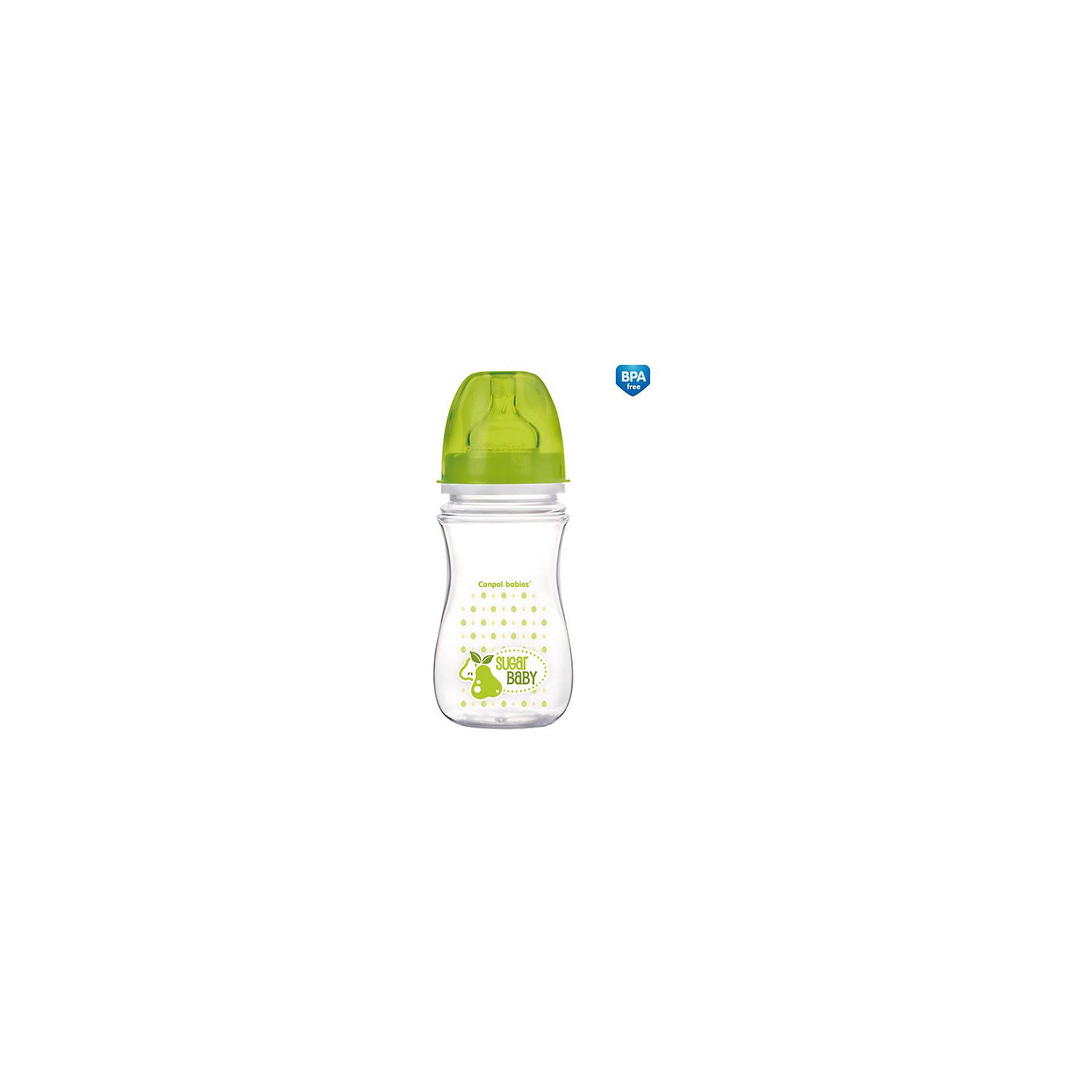 Антиколиковая бутылочка коллекция Фрукты, 240 мл, Canpol Babies, зеленый