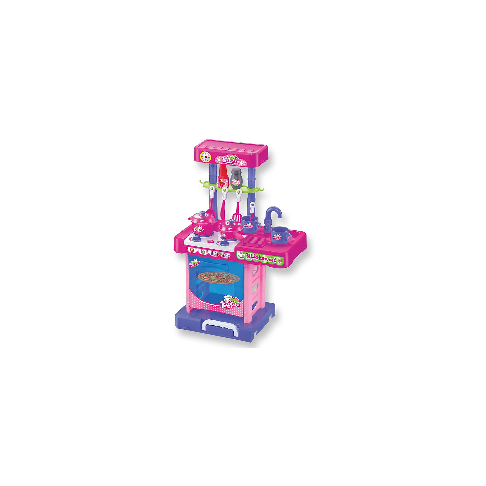 Игровой набор Шеф-повар в чемоданчике, сборный, со светом и звуком, ALTACTOДетские кухни<br>Теперь у вашего ребёнка появилась интересная возможность научиться хозяйничать на кухне. Это можно сделать абсолютно безопасно и весело, так как детская игрушечная кухня очень похожа на настоящую. Все детали помещаются в чемоданчик с ручкой. Игровой набор включает духовой шкаф с открывающейся дверцей, 2 конфорки, которые светятся и издают звук приготовления пищи. При нажатии на кнопку работает таймер. Есть раковина с краном. Сверху устанавливается полочка. <br><br>Дополнительная информация:<br><br>В комплекте: 12 аксессуаров (столовые приборы, посуда, специи), пицца, овощи и фрукты, наклейки для украшения, инструкция. Развивает логическое мышление, воображение, мелкую моторику и коммуникабельность.<br>Работает от 3х батареек (не входят в комплект).<br><br>Ширина мм: 480<br>Глубина мм: 120<br>Высота мм: 310<br>Вес г: 1790<br>Возраст от месяцев: 36<br>Возраст до месяцев: 84<br>Пол: Женский<br>Возраст: Детский<br>SKU: 4342833