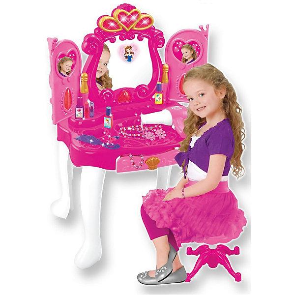 Интерактивное трюмо Прекрасная принцесса, сборное, со звуком и светом, с аксессуарами,  ALTACTOСалон красоты<br>Характеристики товара:<br><br>• возраст: от 3 лет;<br>• размер упаковки: 54х45х13 см.;<br>• размер в собранном виде: 43,5х31,5х72,5 см.;<br>• комплект: трюмо, стульчик, фен (шумит, дует воздухом), аксессуары (косметика, украшения);<br>• наличие батареек: не входят в комплект;<br>• состав: пластик;<br>• упаковка: картонная коробка;<br>• вес в упаковке: 2,7 кг.;<br>• бренд, страна: ALTACTO, Китай;<br>• страна-производитель: Китай.<br><br>Интерактивное трюмо «Прекрасная принцесса» от Altacto - с этим необычным набором каждая девочка почувствует себя сказочной красавицей! Что может быть лучше, чем повертеться перед зеркалом, продумывая новый образ? Порадуйте своего ребенка таким замечательным подарком!<br><br>Стоит лишь махнуть рукой - створки зеркала открываются и закрываются благодаря сенсорному датчику, реагирующему на движения. В зеркале появляется принцесса. Все это происходит под звуковые и световые эффекты. Ящик в столе выдвигается - в нем можно хранить свои украшения. <br><br>В комплект входят элементы для сборки трюмо и стульчика, а также фен со звуковыми эффектами, аксессуары (3 лака для ногтей, 2 помады, 2 резинки для волос, 2 кольца, расческа, ожерелье и браслеты). В дверцы трюмо можно вставить свое фото или картинки принцессы.<br><br>Для работы трюмо необходимо купить 3 батарейки напряжением 1,5V типа АА (не входят в комплект); для работы фена одну батарейку напряжением 1,5V типа АА (не входит в комплект).<br><br>Все изделия набора изготовлены из нетоксичного и качественного материала. Инструкция указана на упаковке.    <br><br>Для всего набора требуются 4 батарейки (не входят в комплект) – 3 для трюмо и 1 в фен.<br><br>Трюмо «Сказочная красавица» от Altacto можно купить в нашем интернет-магазине.<br>Ширина мм: 440; Глубина мм: 120; Высота мм: 570; Вес г: 3250; Возраст от месяцев: 36; Возраст до месяцев: 84; Пол: Женский; Возраст: Детский; SKU: 43