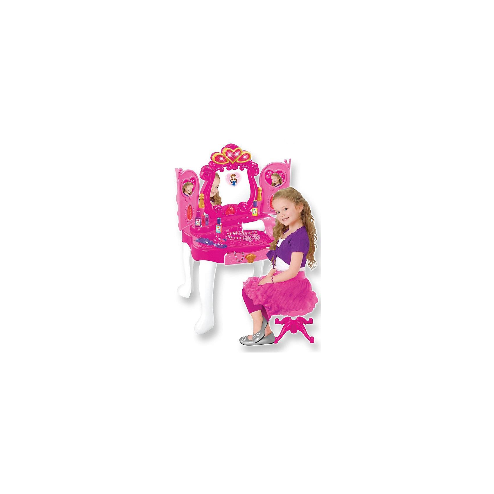 Интерактивное трюмо Прекрасная принцесса, сборное, со звуком и светом, с аксессуарами,  ALTACTOПозвольте вашей девочке почувствовать себя прекрасной принцессой! Стоит лишь махнуть рукой - створки зеркала открываются и закрываются благодаря сенсорному датчику, реагирующему на движения. В зеркале появляется принцесса. Всё это происходит под звуковые и световые эффекты. Ящик в столе выдвигается – там можно хранить свои украшения. В комплекте: трюмо, стульчик, наклейки, фен (шумит, дует воздухом), аксессуары (косметика, украшения). В дверцы можно вставить своё фото или картинки принцессы. Все компоненты сделаны из пластмассы. Инструкция на упаковке.  Для всего Игровой набора требуются 4 батарейки (не входят в комплект) – 3 для трюмо и 1 в фен.<br><br>Ширина мм: 440<br>Глубина мм: 120<br>Высота мм: 570<br>Вес г: 3250<br>Возраст от месяцев: 36<br>Возраст до месяцев: 84<br>Пол: Женский<br>Возраст: Детский<br>SKU: 4342835