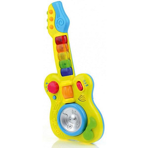 Развивающая игрушка Гитара, со светом и звуком, МалышарикиДетские музыкальные инструменты<br>Развивающая игрушка Гитара, со светом и звуком, Малышарики<br><br>Характеристики:<br><br>• воспроизводит мелодии<br>• кнопки со световыми эффектами<br>• материал: пластик<br>• высота гитары: 27 см<br>• размер упаковки: 24х3,5х56 см<br><br>Гитара - развивающая игрушка для малышей, изготовленная из прочного пластика. Ребенок сможет слушать веселые мелодии, фразы и звуки. Для этого нужно лишь нажать на кнопки, оснащенные световым эффектом или покрутить диск в центре гитары. Игра поможет развить тактильное восприятие и мелкую моторику. Игрушка имеет яркий дизайн, который придется по вкусу любому ребенку!<br><br>Развивающую игрушку Гитара, со светом и звуком, Малышарики вы можете купить в нашем интернет-магазине.<br>Ширина мм: 400; Глубина мм: 165; Высота мм: 60; Вес г: 544; Возраст от месяцев: 12; Возраст до месяцев: 36; Пол: Унисекс; Возраст: Детский; SKU: 4342853;