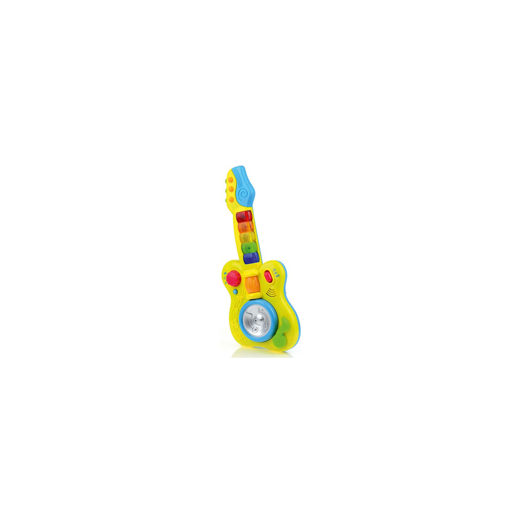 Развивающая игрушка Гитара, со светом и звуком, МалышарикиРазвивающая игрушка Гитара, со светом и звуком, Малышарики<br><br>Характеристики:<br><br>• воспроизводит мелодии<br>• кнопки со световыми эффектами<br>• материал: пластик<br>• высота гитары: 27 см<br>• размер упаковки: 24х3,5х56 см<br><br>Гитара - развивающая игрушка для малышей, изготовленная из прочного пластика. Ребенок сможет слушать веселые мелодии, фразы и звуки. Для этого нужно лишь нажать на кнопки, оснащенные световым эффектом или покрутить диск в центре гитары. Игра поможет развить тактильное восприятие и мелкую моторику. Игрушка имеет яркий дизайн, который придется по вкусу любому ребенку!<br><br>Развивающую игрушку Гитара, со светом и звуком, Малышарики вы можете купить в нашем интернет-магазине.<br><br>Ширина мм: 400<br>Глубина мм: 165<br>Высота мм: 60<br>Вес г: 544<br>Возраст от месяцев: 12<br>Возраст до месяцев: 36<br>Пол: Унисекс<br>Возраст: Детский<br>SKU: 4342853