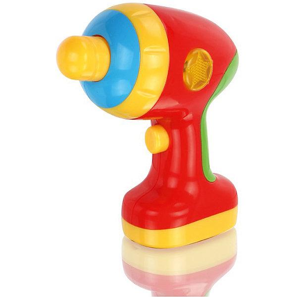 Игрушка Дрель, со звуком, МалышарикиНаборы инструментов<br>Игрушка Дрель, со звуком, Малышарики<br><br>Характеристики:<br><br>• сверло вращается<br>• световые и звуковые эффекты<br>• материал: пластик<br>• батарейки: ААА - 2 шт. (в комплекте не входят)<br>• размер дрели: 14х7х13,5 см<br>• размер упаковки: 15х23х8 см<br>• вес: 230 грамм<br><br>Игрушечная дрель пригодится каждому юному помощнику. Она поможет ребенку придумать веселую игру, подражая родителям. Сверло дрели крутится, а сама дрель издает при этом веселые звуки. Световые и звуковые эффекты точно не позволят малышу заскучать! Игрушка изготовлена из безопасного пластика, края закруглены.<br><br>Игрушку Дрель, со звуком, Малышарики можно купить в нашем интернет-магазине.<br><br>Ширина мм: 150<br>Глубина мм: 80<br>Высота мм: 230<br>Вес г: 245<br>Возраст от месяцев: 12<br>Возраст до месяцев: 36<br>Пол: Мужской<br>Возраст: Детский<br>SKU: 4342856