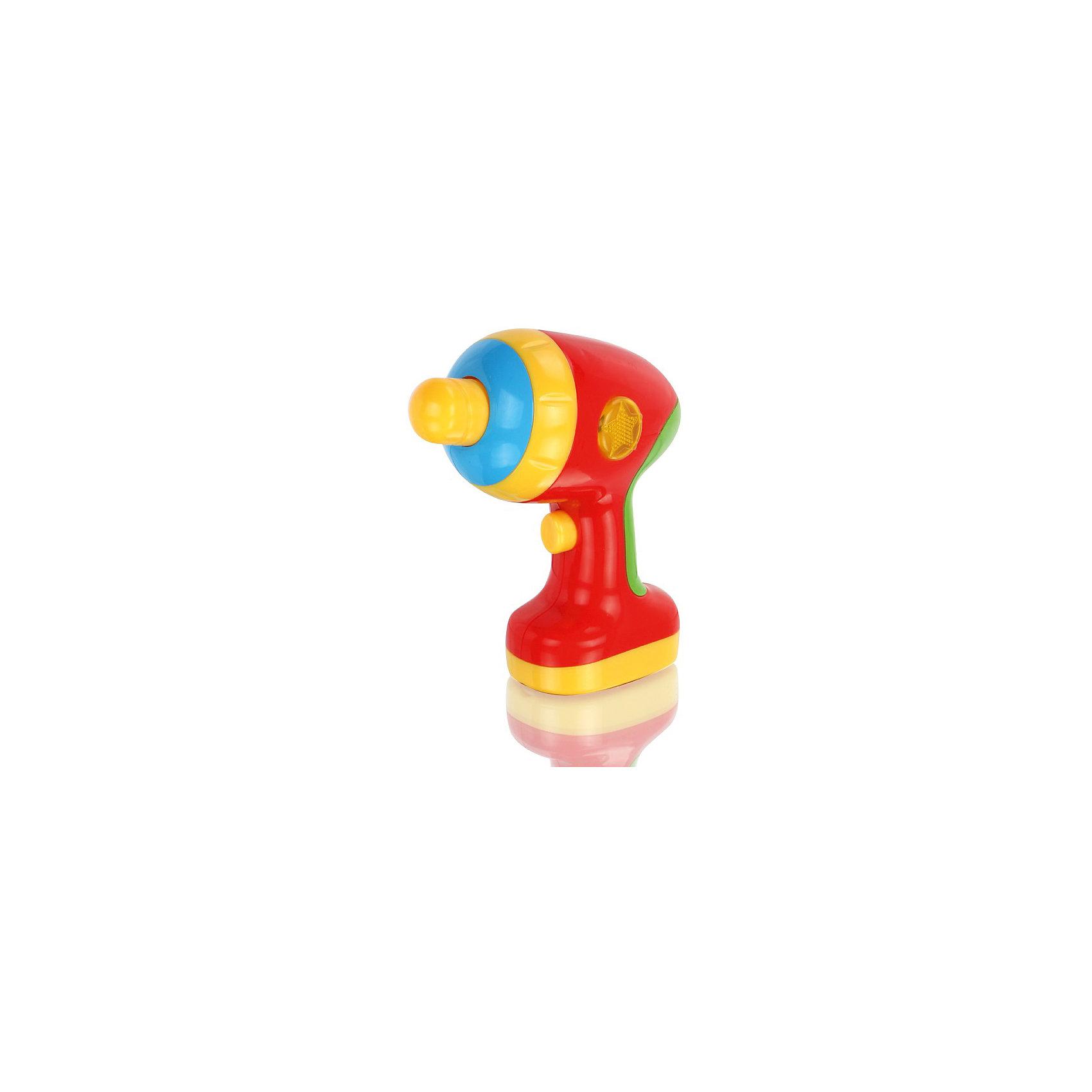 Игрушка Дрель, со звуком, МалышарикиИгрушка Дрель, со звуком, Малышарики<br><br>Характеристики:<br><br>• сверло вращается<br>• световые и звуковые эффекты<br>• материал: пластик<br>• батарейки: ААА - 2 шт. (в комплекте не входят)<br>• размер дрели: 14х7х13,5 см<br>• размер упаковки: 15х23х8 см<br>• вес: 230 грамм<br><br>Игрушечная дрель пригодится каждому юному помощнику. Она поможет ребенку придумать веселую игру, подражая родителям. Сверло дрели крутится, а сама дрель издает при этом веселые звуки. Световые и звуковые эффекты точно не позволят малышу заскучать! Игрушка изготовлена из безопасного пластика, края закруглены.<br><br>Игрушку Дрель, со звуком, Малышарики можно купить в нашем интернет-магазине.<br><br>Ширина мм: 150<br>Глубина мм: 80<br>Высота мм: 230<br>Вес г: 245<br>Возраст от месяцев: 12<br>Возраст до месяцев: 36<br>Пол: Мужской<br>Возраст: Детский<br>SKU: 4342856