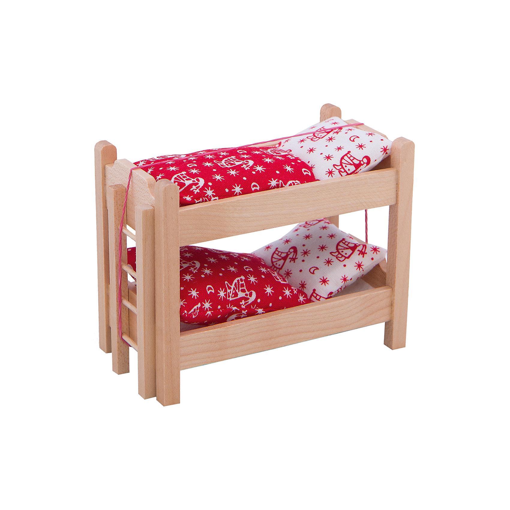 Кровать двухъярусная с аксессуарами для мини-куколКровать двухъярусная с аксессуарами для мини-кукол - прекрасная деревянная кровать для любимых пупсов, изготовленная из натурального дерева.<br>Удобная кровать с постельными принадлежностями подойдет для двух миниатюрных кукол PUPSIQUE, высотой 7 см. В двухъярусной кровати с ярким спальным комплектом белья пупсам будет комфортно спать. В набор входит лесенка, которая поможет пупсу забраться на верхний ярус. Каждый вечер ваша девочка сможет укладывать спать своих любимых мини-кукол в эту прекрасную кровать. При создании кукол PUPSIQUE и аксессуаров к ним используются исключительно качественные материалы. Вся мебель для кукол PUPSIQUE изготавливается на фабрике в Германии. В производстве кукольной мебели используются качественные породы бука и клена. Маленький размер игрушек позволяет играть в абсолютно любом месте, их удобно брать с собой на занятия или увлекательно проводить время в дороге во время путешествий.<br><br>Дополнительная информация:<br><br>- В комплекте: двухъярусная кровать, лестница, постельные принадлежности<br>- Материал: древесина, текстиль<br>- Размер упаковки: 11,5 х 6,5 х 9,5 см.<br>- Вес: 400 гр.<br><br>Кровать двухъярусную с аксессуарами для мини-кукол можно купить в нашем интернет-магазине.<br><br>Ширина мм: 115<br>Глубина мм: 65<br>Высота мм: 95<br>Вес г: 400<br>Возраст от месяцев: 36<br>Возраст до месяцев: 192<br>Пол: Женский<br>Возраст: Детский<br>SKU: 4344924
