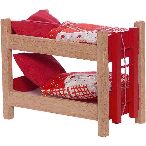 Кровать двухъярусная с аксессуарами для мини-куколМебель для кукол<br>Кровать двухъярусная с аксессуарами для мини-кукол - прекрасная деревянная кровать для любимых пупсов, изготовленная из натурального дерева.<br>Светлая деревянная кровать с красной лесенкой и постельными принадлежностями подойдет для двух миниатюрных кукол PUPSIQUE, высотой 7 см. В двухъярусной кровати с ярким спальным комплектом белья пупсам будет комфортно спать. Каждый вечер ваша девочка сможет укладывать спать своих любимых мини-кукол в эту прекрасную кровать. При создании кукол PUPSIQUE и аксессуаров к ним используются исключительно качественные материалы. Вся мебель для кукол PUPSIQUE изготавливается на фабрике в Германии. В производстве кукольной мебели используются качественные породы бука и клена. Маленький размер игрушек позволяет играть в абсолютно любом месте, их удобно брать с собой на занятия или увлекательно проводить время в дороге во время путешествий.<br><br>Дополнительная информация:<br><br>- В комплекте: двухъярусная кровать, лестница, постельные принадлежности<br>- Материал: древесина, текстиль<br>- Размер упаковки: 11,5 х 6,5 х 9,5 см.<br>- Вес: 400 гр.<br><br>Кровать двухъярусную с аксессуарами для мини-кукол можно купить в нашем интернет-магазине.<br>Ширина мм: 115; Глубина мм: 65; Высота мм: 95; Вес г: 400; Возраст от месяцев: 36; Возраст до месяцев: 192; Пол: Женский; Возраст: Детский; SKU: 4344925;