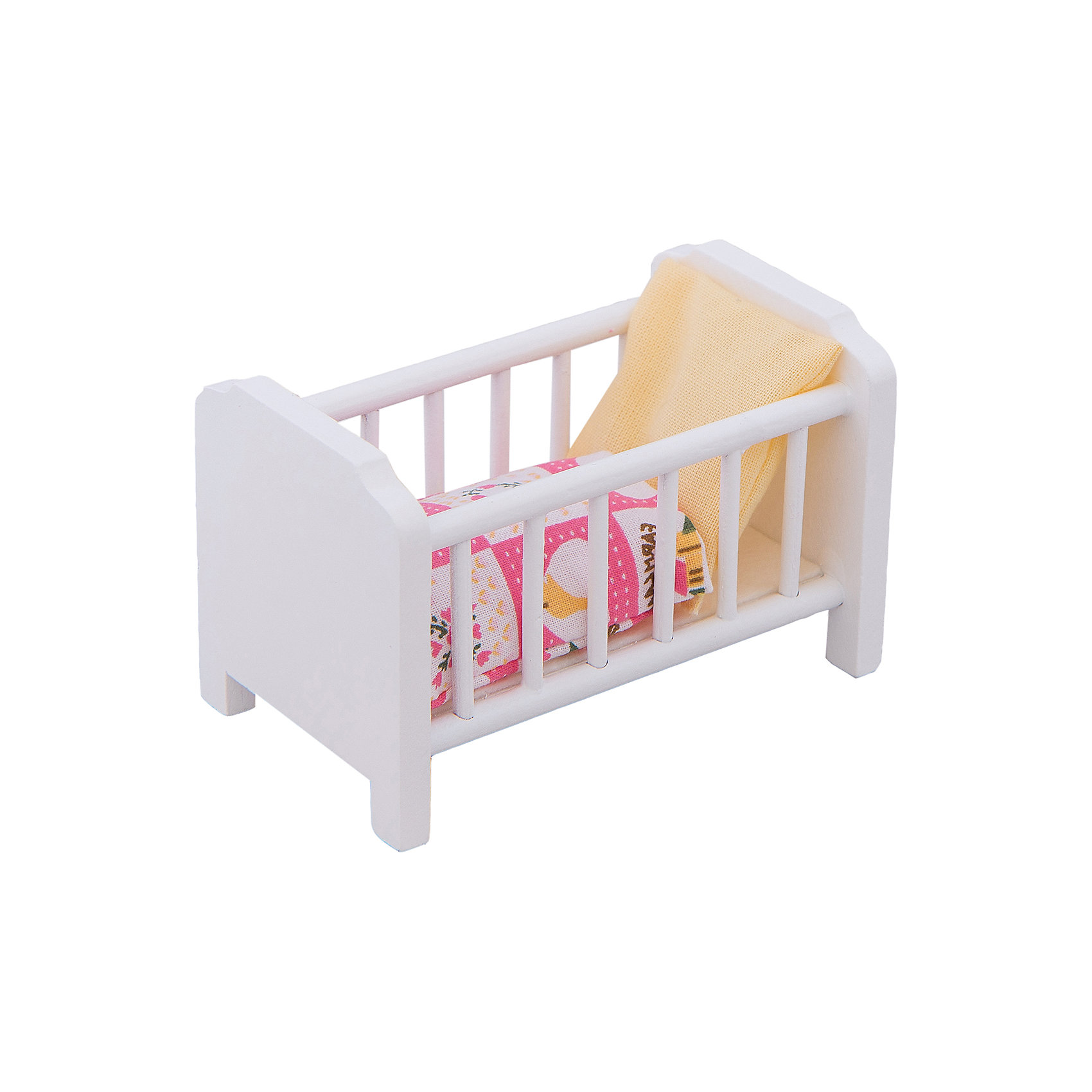 - Кровать  с аксессуарами (белая) для мини-кукол