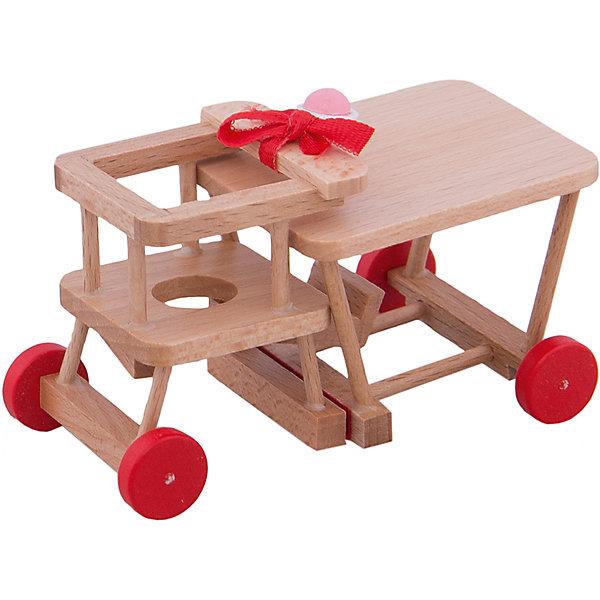 Стульчик для кормления - трансформер для мини-куколМебель для кукол<br>Стульчик для кормления - трансформер для мини-кукол - игрушечная мебель, помогающая создать реалистичную атмосферу в сюжетно-ролевой игре.<br>Симпатичный стульчик для кормления подойдет для миниатюрной куклы PUPSIQUE, высотой 7 см. Деревянный стульчик можно использовать как высокий стул для кормления пупса, так и как низкий стул со столиком. В комплект также входит горшок для пупса и погремушка. Универсальный стульчик отлично подойдет для сюжетно-ролевых игр в «дочки-матери». С ним ваша девочка будет тщательно ухаживать за своей любимой мини-куклой и с удовольствием ее кормить. Вся мебель для кукол PUPSIQUE изготавливается на фабрике в Германии. В производстве кукольной мебели используются качественные породы бука и клена. Маленький размер игрушек позволяет играть в абсолютно любом месте, их удобно брать с собой на занятия или увлекательно проводить время в дороге во время путешествий.<br><br>Дополнительная информация:<br><br>- В комплекте: стульчик, погремушка, горшок<br>- Материал: древесина<br>- Размер столика: 4,5 х 5,5 см, высота 4,5 см.<br>- Размер стульчика 4 х 4 см, высота сиденья 3 см, высота с подлокотниками 5 см.<br>- Размер упаковки: 9,5 х 4,5 х 6 см.<br>- Вес: 300 гр.<br><br>Стульчик для кормления - трансформер для мини-кукол можно купить в нашем интернет-магазине.<br><br>Ширина мм: 95<br>Глубина мм: 45<br>Высота мм: 60<br>Вес г: 300<br>Возраст от месяцев: 36<br>Возраст до месяцев: 192<br>Пол: Женский<br>Возраст: Детский<br>SKU: 4344928