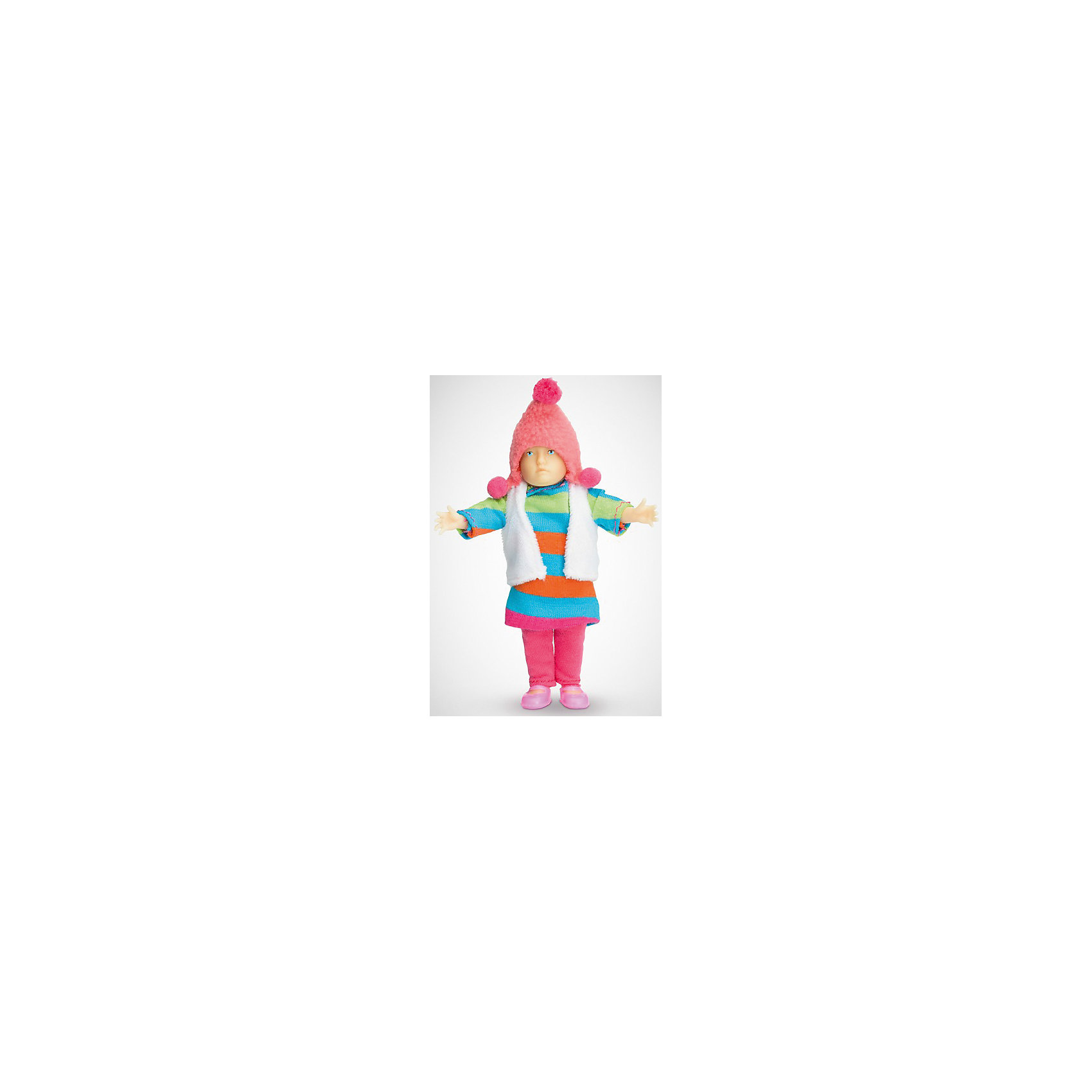Мини-кукла Девочка в полосатом платье, PUPSIQUEМини-кукла Девочка в полосатом платье, PUPSIQUE - эта кукла-пупс специально создана для увлекательных игр и коллекционирования.<br>Миниатюрная кукла Девочка в полосатом платье - это авторское произведение, где детально соблюдены пропорции и особенности человеческого тела. Игрушка не имеет аналогов в мире - лицо расписано вручную, а одета кукла в оригинальную дизайнерскую одежду: полосатое платье, белый жилет, розовые штанишки и шапочку с помпоном. Главное, что отличает куклу-пупса - это идеальное сходство с человеком. Малышка словно живая. Кукла имеет 5 точек артикуляции: подвижные голова, руки и ноги. Игрушка изготовлена из высококачественного гипоаллергенного материала. Маленький размер куклы позволяет играть в абсолютно любом месте, ее удобно брать с собой на занятия или весело проводить время в дороге во время путешествий. Для создания увлекательных игровых сцен с миниатюрной куклой можно дополнять игру различными аксессуарами и новой одеждой.<br><br>Дополнительная информация:<br><br>- Высота куклы: 11 см.<br>- Материал: винил, текстиль<br>- Размер упаковки: 15 х 2,6 х 26 см.<br>- Вес: 670 гр.<br><br>Мини-куклу Девочка в полосатом платье, PUPSIQUE можно купить в нашем интернет-магазине.<br><br>Ширина мм: 150<br>Глубина мм: 26<br>Высота мм: 260<br>Вес г: 670<br>Возраст от месяцев: 36<br>Возраст до месяцев: 192<br>Пол: Женский<br>Возраст: Детский<br>SKU: 4344937