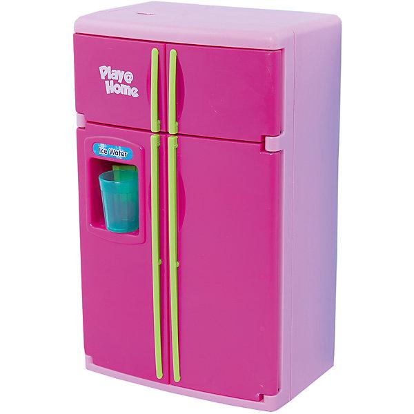 Холодильник, KeenwayИгрушечная бытовая техника<br>Вместительный двустворчатый холодильник выглядит как настоящий что, несомненно, порадует любую девочку. Полочки холодильника вынимаются, есть морозильная камера, при открывании дверок загорается свет. В холодильнике есть множество продуктов и даже специальное устройство для холодной воды: поднесите стакан, надавите им на рычаг, и вы услышите звук наливающейся воды.   Игрушка выполнена из высококачественного пластика, не имеют острых углов, безопасна для детей. Игровые наборы Маленькая хозяюшка развивают социальные навыки, прививают у ребенка любовь к труду. <br><br>Дополнительная информация:<br><br>- Комплектация: холодильник, 4 съемные полочки, лоток для овощей<br>большой стакан для холодной воды, продукты (курица-гриль, 5 яиц, мясо на тарелке, торт, кочан капусты, гроздь винограда, связка бананов), 2 пластиковых пакета (молоко и сок), 7 пластиковых бутылочек с соусами и напитками<br>- Размер: 29 х 14 х 32 см.<br>- Световые, звуковые эффекты.<br>- Элемент питания: 3 батарейки типа АА (в комплекте).<br><br>Холодильник, Keenway, можно купить в нашем магазине.<br>Ширина мм: 108; Глубина мм: 254; Высота мм: 381; Вес г: 1881; Возраст от месяцев: 36; Возраст до месяцев: 84; Пол: Женский; Возраст: Детский; SKU: 4345024;