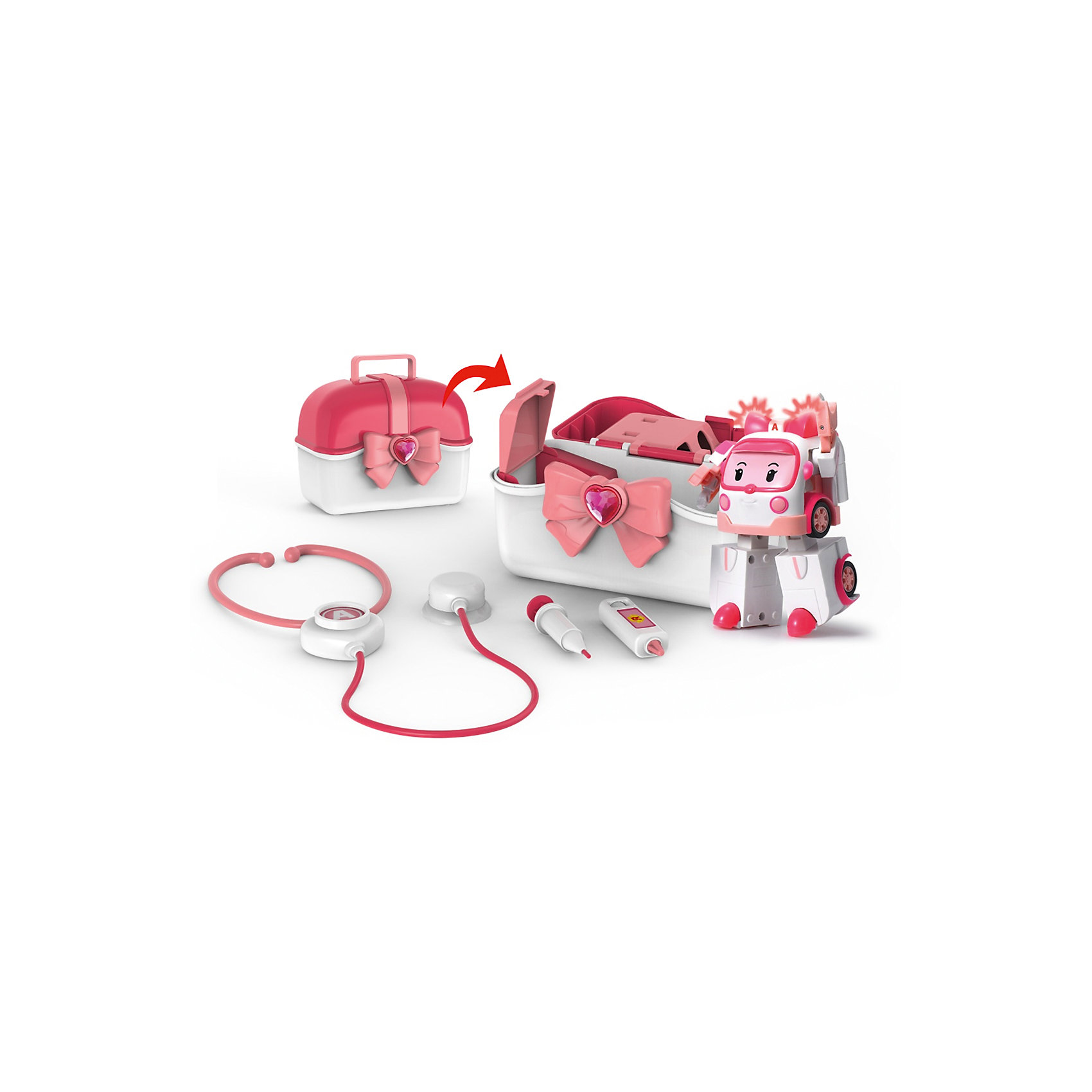 Кейс с трансформером Эмбер 12,5 см, Робокар ПолиИгровые наборы<br>Характеристики:<br><br>• Предназначение: для сюжетно-ролевых и подвижных игр<br>• Пол: для девочек<br>• Коллекция: Робокар Поли и его друзья<br>• Материал: пластик<br>• Комплектация: машинка, кейс, стетоскоп, шприц, градусник<br>• Световые эффекты<br>• Робот трансформируется в машинку<br>• У машини инерционный механизм<br>• Вес: 1 кг 087 г<br>• Размеры упаковки (Д*В*Ш): 13*22*36 см<br>• Упаковка: картонная коробка с блистером<br>• Особенности ухода: сухая или влажная чистка<br><br>Кейс с трансформером Эмбер, 12,5 см, Робокар Поли – этот  набор производителем которого является торговый бренд Silverlit, специализирующийся на выпуске высокотехнологических игрушек. Машинка в образе Эмбер из мультсериала Робокар Поли и его друзья выполнена из ударопрочного и нетоксичного пластика. В комплекте предусмотрены медицинские инструменты: стетоскоп, шприц и градусник. Машинка в три приема может трансформироваться в робота и наоборот. <br><br>У игрушки предусмотрен инерционный механизм, во время движения машинки начинает светиться мигалка. Машинка Поли и аксессуары упакованы в чемоданчик, поэтому набор удобно брать с собой в поездки и путешествия. Подвижные или сюжетно-ролевые игры с машинками  будут способствовать развитию координации движений, фантазии и воображения, а также позволят воспроизвести наиболее понравившиеся сюжеты с любимыми героями.<br><br>Кейс с трансформером Эмбер, 12,5 см, Робокар Поли можно купить в нашем интернет-магазине.<br><br>Ширина мм: 356<br>Глубина мм: 216<br>Высота мм: 133<br>Вес г: 1087<br>Возраст от месяцев: 36<br>Возраст до месяцев: 84<br>Пол: Женский<br>Возраст: Детский<br>SKU: 4345026