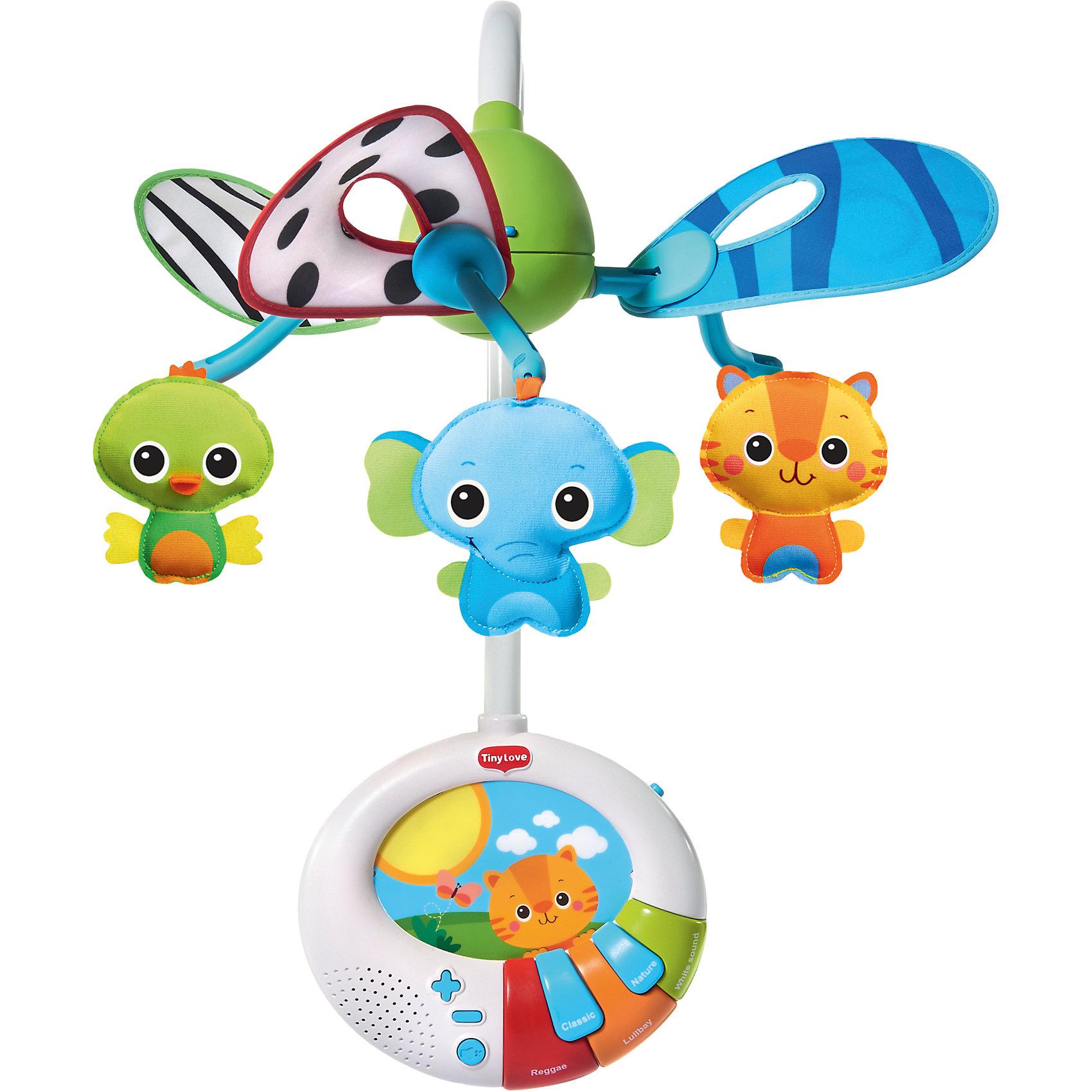 Мобиль Найди меня, я спрятался, Tiny LoveЯркий мобиль обязательно понравится малышам. Он оснащен уникальной системой двойного движения, благодаря ней мягкие зверушки играют в прятки, исчезая и появляясь прямо на глазах у крохи, приковывая его внимания и стимулируя развитие.  Мягкие игрушки очень приятны наощупь, ребенку понравится трогать и рассматривать их.  Музыкальный блок выполнен в виде шкатулки-пианино, она отсоединяется и позже может служить самостоятельной игрушкой для уже подросшего малыша. Мобиль выполнен из высококачественных материалов безопасных для детей, включает в себя также функцию ночника. <br><br>Дополнительная информация:<br><br>- Комплектация: штанга с клипсой для штатного крепления (1 шт), электронный мобиль (1 шт), игрушки (3 шт),  инструкция (1 шт).<br>- Материал:  пластик, металл. <br>- Размер: 41 x 12 х 34 см.<br>- Мягкий ночник с луной и звездами. <br>- Съемная музыкальная шкатулка.<br>- 40 минут музыки из 15 мелодий.<br>- Регулировка громкости.<br>- Элемент питания: 3 батарейки С (в комплект не входят).<br><br>Мобиль Найди меня, я спрятался, Tiny Love, можно купить в нашем магазине.<br><br>Ширина мм: 290<br>Глубина мм: 60<br>Высота мм: 345<br>Вес г: 1730<br>Возраст от месяцев: 36<br>Возраст до месяцев: 84<br>Пол: Унисекс<br>Возраст: Детский<br>SKU: 4345027