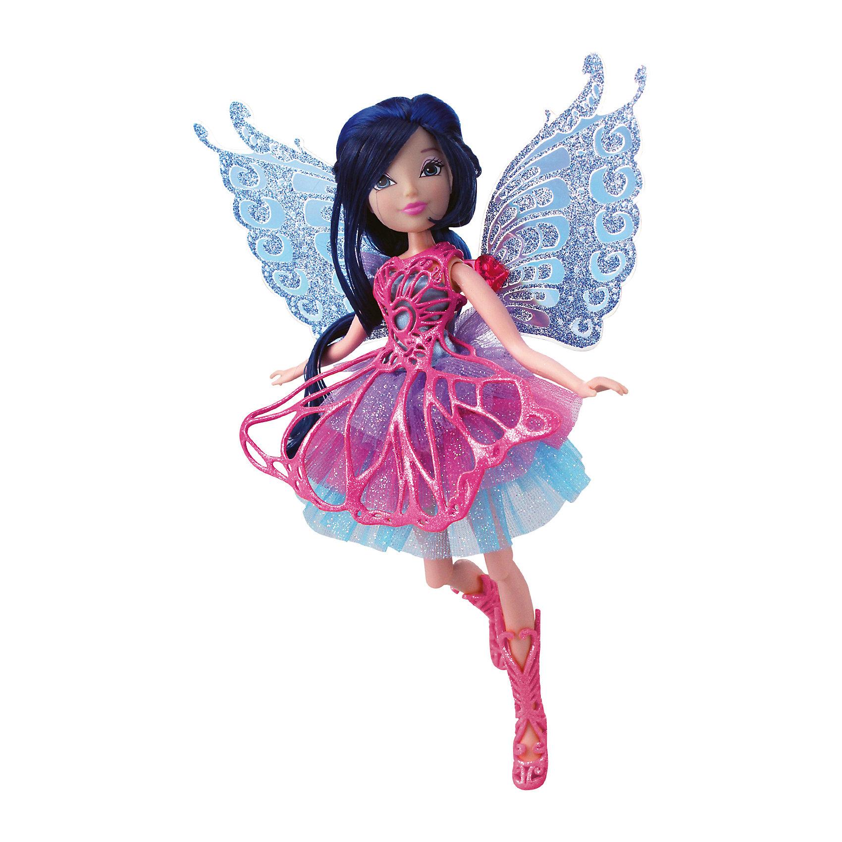 Кукла Winx Club Баттерфликс МузаWinx Club<br>Очаровательные куколки выглядят в точности так же, как и героини мультсериала «Winx Club» (Винкс Клуб). Волшебница Муза одета в красивое розовое платье, состоящее из  приталенного лифа и пышной юбки. На ногах куколки - розовые плетеные сапожки. Оригинальный аксессуар - съемная плетеная накладка на платье, делает образ феи еще более невесомым и воздушным. Длинные черные волосы куклы очень приятно расчесывать, создавая великолепные прически. Позвольте вашей девочке почувствовать себя настоящей феей вместе с любимыми героинями. Собери все куколок, проигрывай запомнившиеся моменты из мультсериала или придумывай свои новые истории! <br><br>Дополнительная информация:<br><br>- Комплектация: кукла, расческа, съемные крылья, одежда, обувь.<br>- Материал:  пластик, текстиль. <br>- Высота куклы: 28 см.<br>- Голова, руки, ноги подвижные. <br><br>Куклу Winx Club Баттерфликс, Музу, можно купить в нашем магазине.<br><br>Ширина мм: 290<br>Глубина мм: 60<br>Высота мм: 345<br>Вес г: 420<br>Возраст от месяцев: 36<br>Возраст до месяцев: 84<br>Пол: Женский<br>Возраст: Детский<br>SKU: 4345038