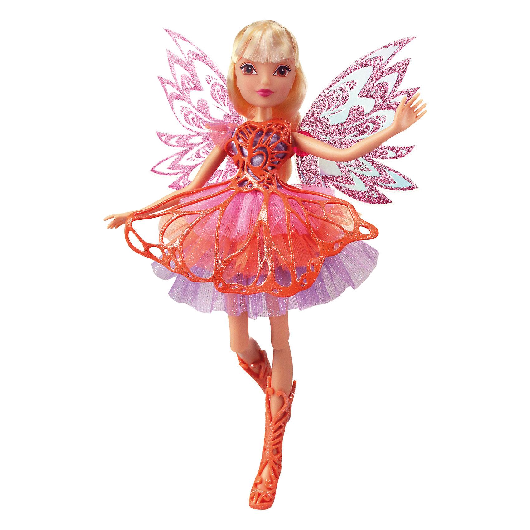 Кукла Winx Club Баттерфликс СтеллаПопулярные игрушки<br>Очаровательные куколки выглядят в точности так же, как и героини мультсериала «Winx Club» (Винкс Клуб). Волшебница Стелла одета в красивое персиковое платье, состоящее из  приталенного лифа и пышной юбки. На ногах куколки - нежно-персиковые плетеные сапожки. Оригинальный аксессуар - съемная плетеная накладка на платье, делает образ феи еще более невесомым и воздушным. Длинные белокурые волосы куклы очень приятно расчесывать, создавая великолепные прически. Позвольте вашей девочке почувствовать себя настоящей феей вместе с любимыми героинями. Собери все куколок, проигрывай запомнившиеся моменты из мультсериала или придумывай свои новые истории! <br><br>Дополнительная информация:<br><br>- Комплектация: кукла, расческа, съемные крылья, одежда, обувь.<br>- Материал:  пластик, текстиль. <br>- Высота куклы: 28 см.<br>- Голова, руки, ноги подвижные. <br><br>Куклу Winx Club Баттерфликс, Стеллу, можно купить в нашем магазине.<br><br>Ширина мм: 290<br>Глубина мм: 60<br>Высота мм: 345<br>Вес г: 420<br>Возраст от месяцев: 36<br>Возраст до месяцев: 84<br>Пол: Женский<br>Возраст: Детский<br>SKU: 4345039
