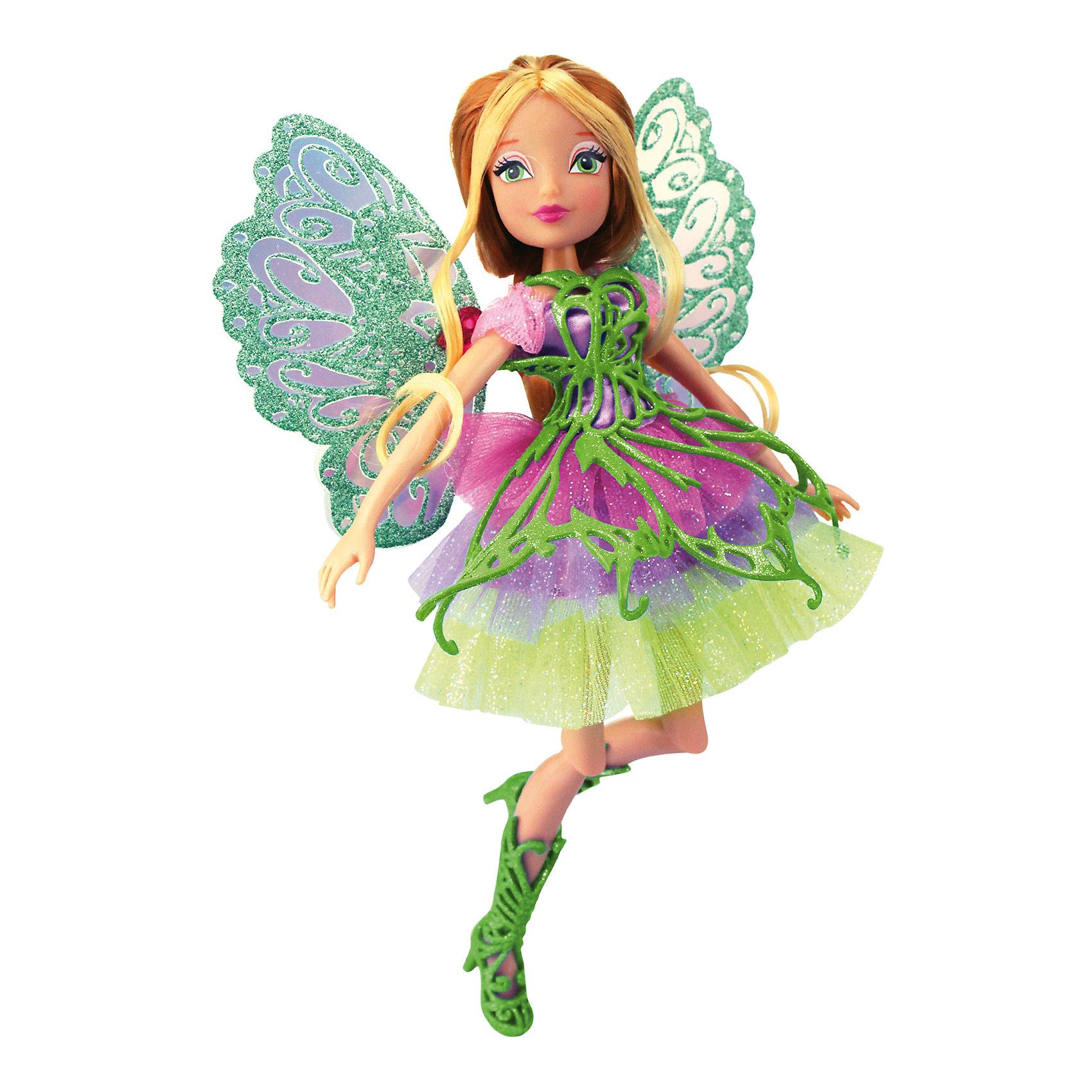 Кукла Winx Club Баттерфликс ФлораОчаровательные куколки выглядят в точности так же, как и героини мультсериала «Winx Club» (Винкс Клуб). Волшебница Флора одета в красивое  платье, состоящее из  приталенного лифа и пышной разноцветной юбки. На ногах куколки - зеленые плетеные сапожки. Оригинальный аксессуар - съемная плетеная накладка на платье, делает образ феи еще более невесомым и воздушным. Длинные белокурые волосы куклы очень приятно расчесывать, создавая великолепные прически. Позвольте вашей девочке почувствовать себя настоящей феей вместе с любимыми героинями. Собери все куколок, проигрывай запомнившиеся моменты из мультсериала или придумывай свои новые истории! <br><br>Дополнительная информация:<br><br>- Комплектация: кукла, расческа, съемные крылья, одежда, обувь.<br>- Материал:  пластик, текстиль. <br>- Высота куклы: 28 см.<br>- Голова, руки, ноги подвижные. <br><br>Куклу Winx Club Баттерфликс, Флору, можно купить в нашем магазине.<br><br>Ширина мм: 290<br>Глубина мм: 60<br>Высота мм: 345<br>Вес г: 420<br>Возраст от месяцев: 36<br>Возраст до месяцев: 84<br>Пол: Женский<br>Возраст: Детский<br>SKU: 4345040