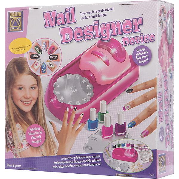 Стильный маникюр, CreativeНаборы детской косметики<br>Набор Стильный маникюр, Creative, не оставит равнодушной ни одну юную модницу. Это настоящая профессиональная студия дизайна ногтей, в которой она найдет специальное устройство для нанесения красочного лака и рисунков на ногти, комплект разноцветных лаков, блестки и рисунки для украшения. Прежде чем приступить к нанесению узоров нужно покрасить ногти лаком. Выберите один из дисков с трафаретами и установите его в устройство. Поместите кончик пальца на специально отведенную площадку и нанесите тонкий слой лака на рисунок. Затем нажмите на большую кнопку, чтобы рисунок отпечатался на встроенном аппликаторе. Нажав кнопку второй раз, рисунок отпечатается на ногте. Всего за несколько минут Вы сможете создать на ногтях аккуратный тонкий узор, а сверкающие блестки красиво дополнят маникюр.<br>Комбинируя рисунки и смешивая цвета для получения новых оттенков Вы каждый раз будете создавать новый неповторимый образ. Набор развивает воображение, фантазию и творческие способности. <br><br>Дополнительная информация:<br><br>- В комплекте: устройство для нанесения лака и рисунков на ногти, лак для ногтей 6 цветов (красный, черный, белый, синий, желтый, зеленый), блестки серебристого и золотистого цветов, 4 диска с рисунками, 2 палочки для рисования лаком на ногтях, инструкция.<br>- Размер устройства: 17 x 9,5 x 6 см.<br>- Диаметр диска: 6 см.<br>- Размер упаковки: 30 x 30 x 9 см. <br>- Вес: 0,867 кг.<br><br>Стильный маникюр, Creative, можно купить в нашем интернет-магазине.<br><br>Ширина мм: 300<br>Глубина мм: 90<br>Высота мм: 300<br>Вес г: 600<br>Возраст от месяцев: 84<br>Возраст до месяцев: 180<br>Пол: Женский<br>Возраст: Детский<br>SKU: 4346553