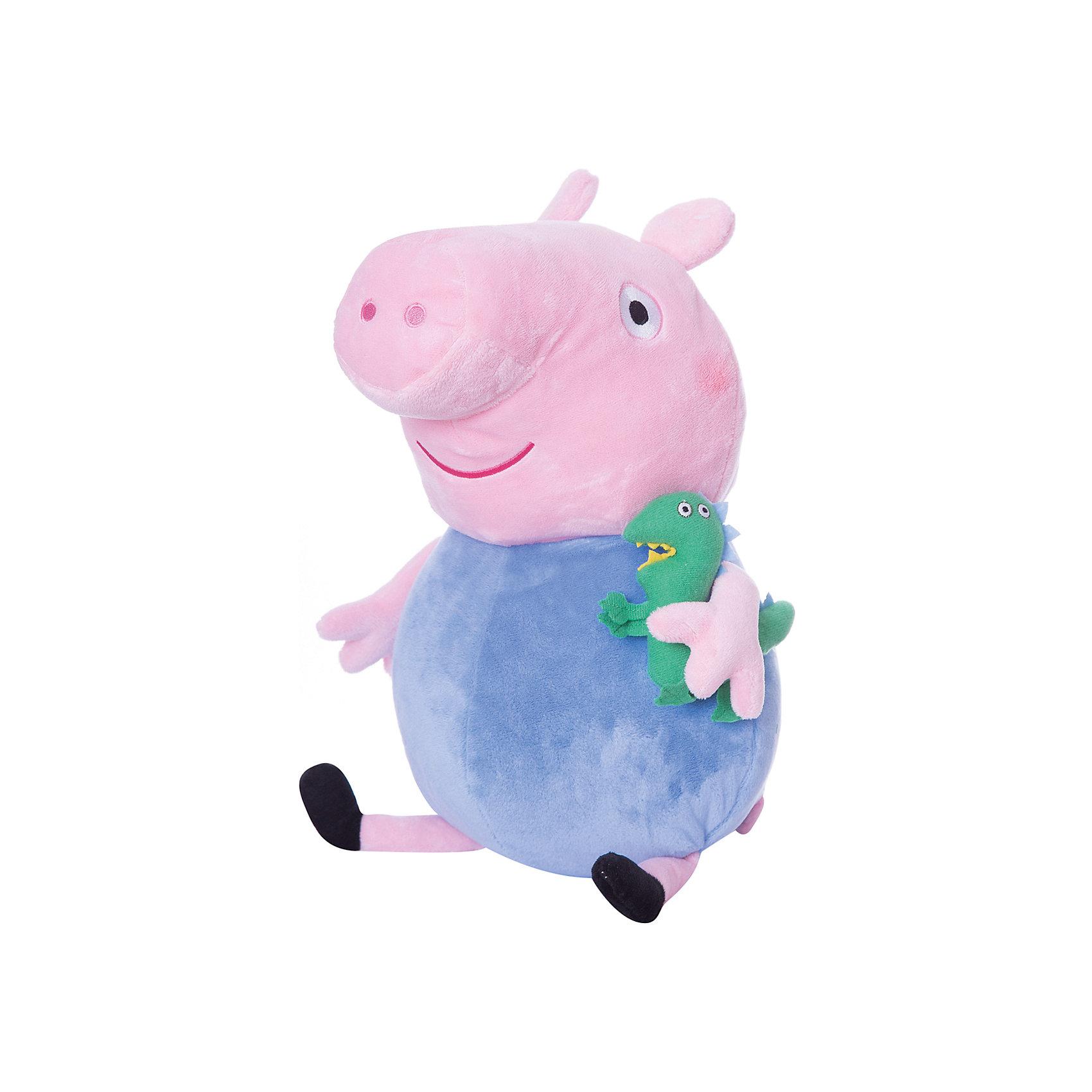 Мягкая игрушка Джордж с динозавром, 40 см, Свинка ПеппаЛюбимые герои<br>Ваш малыш любит мультфильм «Свинка Пеппа»? Тогда он обязательно оценит большую игрушку в виде Джорджа с динозавром, с которой можно весело играть, развивая навыки общения и воображение. С этим мягким симпатягой малютка будет делиться своими маленькими секретиками и безмятежно спать ночью – ведь в обнимку с таким большим плюшевым другом сон гораздо слаще! А если приобрести других персонажей из серии «Peppa Pig», то все игры станут во много раз увлекательнее.&#13;<br><br>Дополнительная информация:<br><br>Мягкая игрушка «Джордж с динозавром» имеет высоту 40 см (размер указан с ножками) и очень приятна на ощупь, так как изготовлена из нежной велюровой ткани и плотно набита. <br>Глазки, носик и ротик Джорджа выполнены в виде плотной вышивки.<br><br>Мягкую игрушку Джордж с динозавром, 40 см, Свинка Пеппа можно купить в нашем магазине.<br><br>Ширина мм: 210<br>Глубина мм: 190<br>Высота мм: 400<br>Вес г: 280<br>Возраст от месяцев: 36<br>Возраст до месяцев: 72<br>Пол: Унисекс<br>Возраст: Детский<br>SKU: 4346598