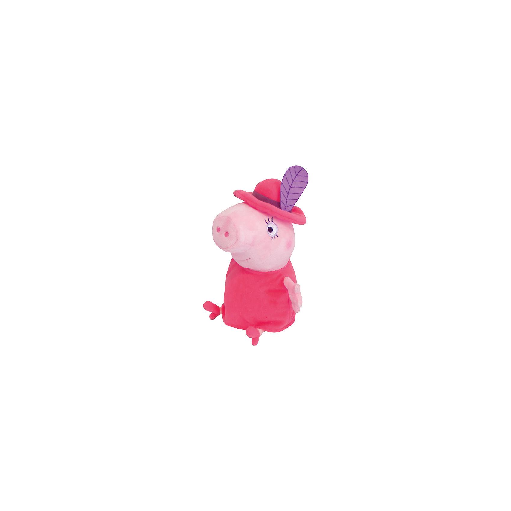 Мягкая игрушка Мама в шляпе, 30 см, Свинка ПеппаЛюбимые герои<br>Маленьким поклонникам Свинки Пеппы не придется скучать с мягкой игрушкой в виде Мамы Свинки в очаровательной шляпе с «пером», как в мультфильме. С ней можно задорно играть, ее приятно обнимать, а спать, обнимая любимую героиню мультфильма, – одно удовольствие: все сны сразу становятся сладкими и безмятежными. А если приобрести другие игрушки из серии «Peppa Pig», то малыши смогут придумывать множество своих собственных историй о приключениях Свинки Пеппы, ее семьи и друзей.&#13;<br><br>Дополнительная информация:<br><br>Мягкая игрушка «Мама в шляпе» имеет высоту 30 см (размер указан с ножками) и очень приятна на ощупь, так как изготовлена из нежной велюровой ткани и плотно набита. <br>Глазки, носик и ротик Мамы Свинки выполнены в виде плотной вышивки. Платье и шляпа несъемные.<br><br>Мягкую игрушку Мама в шляпе, 30 см, Свинка Пеппа можно купить в нашем магазине.<br><br>Ширина мм: 210<br>Глубина мм: 190<br>Высота мм: 300<br>Вес г: 250<br>Возраст от месяцев: 36<br>Возраст до месяцев: 72<br>Пол: Унисекс<br>Возраст: Детский<br>SKU: 4346599