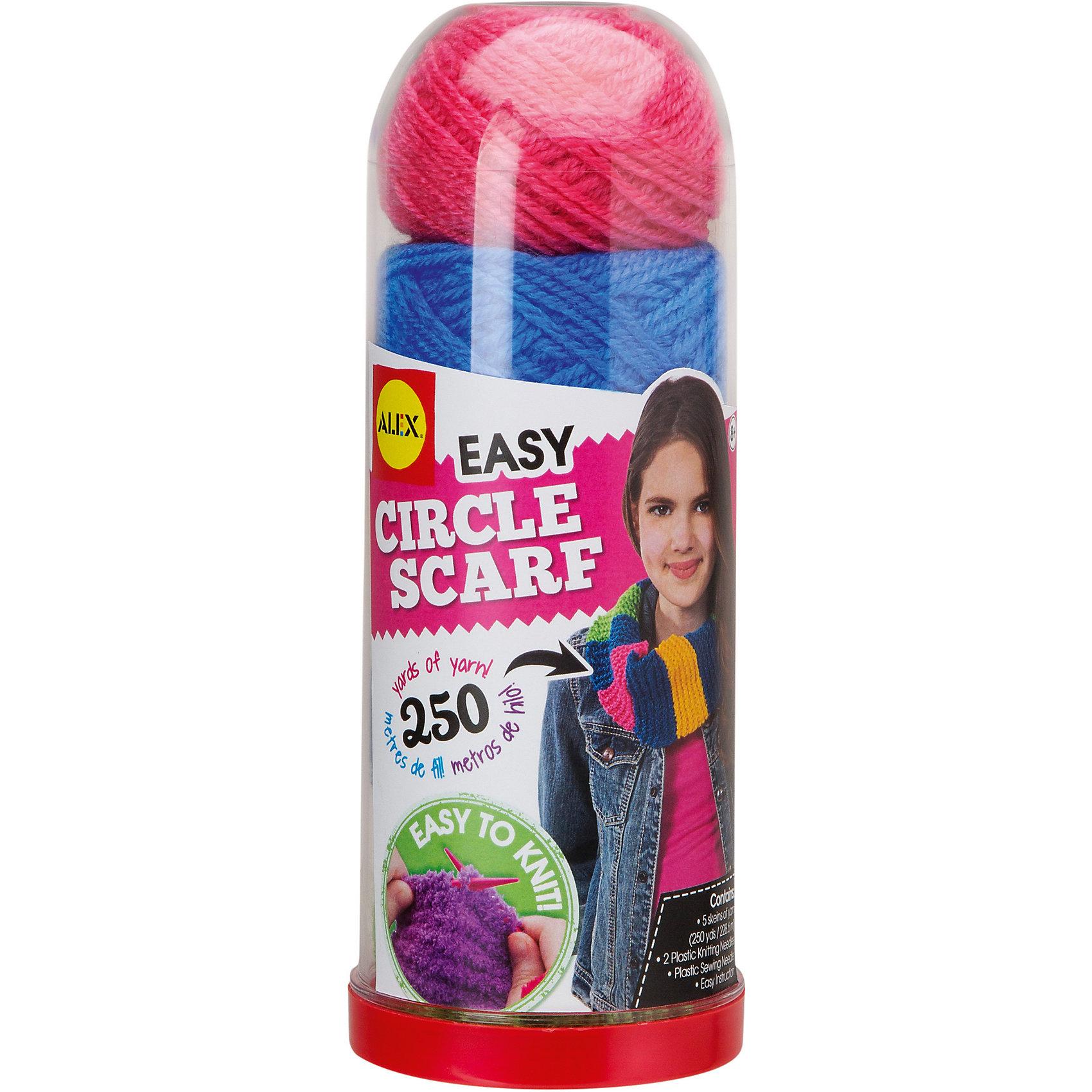 Набор для вязания спицами Круговой шарфРукоделие<br>Этот набор позволит вам связать стильный круговой шарф собственными руками. В наборе есть все необходимое для того, чтобы научиться вязать спицами и изготовить собственный модный аксессуар. Следуя подробной инструкции, вы сможете без труда связать свой первый снуд, который выгодно подчеркнет ваш образ или сможет стать прекрасным подарком на любой праздник. <br><br>Дополнительная информация:<br><br>- Материал: нитки, пластик.<br>- Комплектация: 5 клубков ниток ярких цветов (всего 228 м), пластиковые спицы, пластиковая я игла и инструкции.<br>- Упаковка: пластиковый футляр высотой 22 см.<br><br>Набор для вязания спицами Круговой шарф можно купить в нашем магазине.<br><br>Ширина мм: 8<br>Глубина мм: 8<br>Высота мм: 22<br>Вес г: 285<br>Возраст от месяцев: 96<br>Возраст до месяцев: 168<br>Пол: Женский<br>Возраст: Детский<br>SKU: 4347882