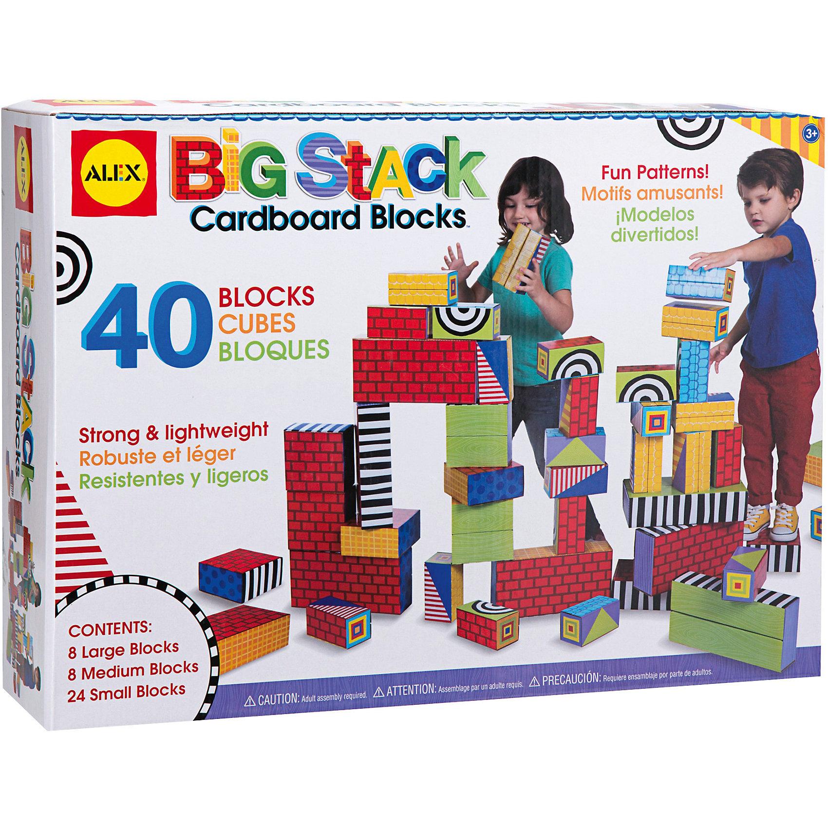 Набор Большие кубикиЭтот конструктор из по-настоящему больших кубиков обязательно понравится детям. Все детали складываются из заготовок из плотного картона Из ярких кубиков можно построить крепость, на них можно даже стоять, придумывая все новые и новые игры. Различные узоры, напечатанные на фигурах открывают простор для детской фантазии и разнообразных игр. <br><br>Дополнительная информация:<br><br>- Материал: картон.<br>- Выдерживают вес  до 50 кг.<br>- В наборе 8 больших, 8 средних и 24 малых кубика.<br><br>Набор Большие кубики можно купить в нашем магазине.<br><br>Ширина мм: 50<br>Глубина мм: 14<br>Высота мм: 39<br>Вес г: 3828<br>Возраст от месяцев: 36<br>Возраст до месяцев: 72<br>Пол: Унисекс<br>Возраст: Детский<br>SKU: 4347883